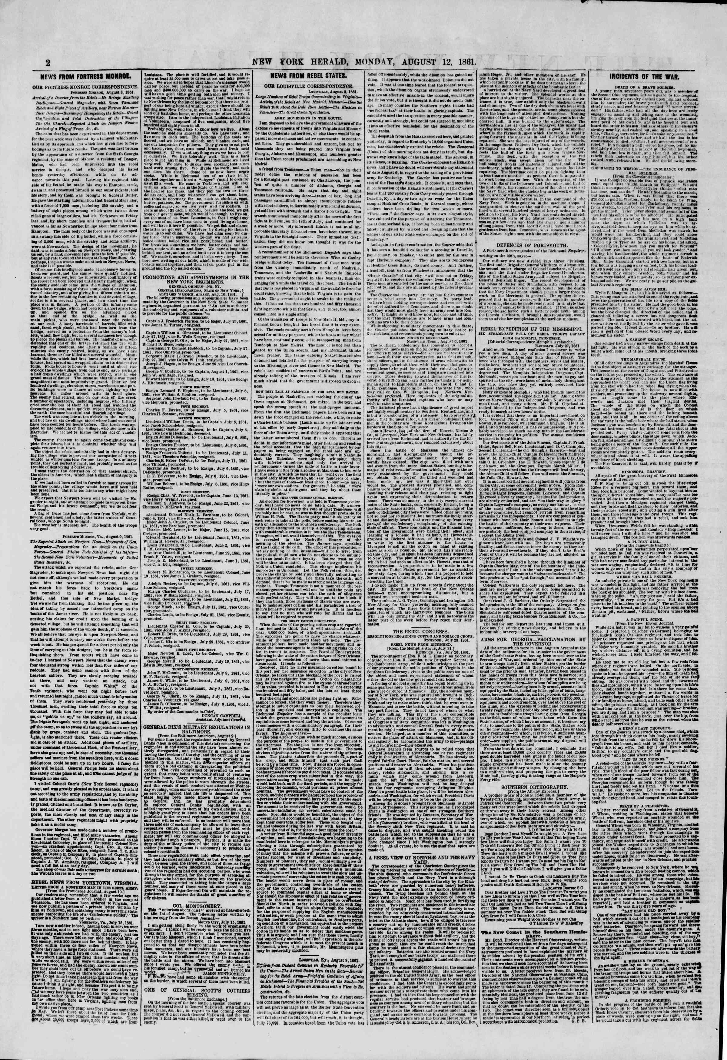 Newspaper of The New York Herald dated August 12, 1861 Page 2