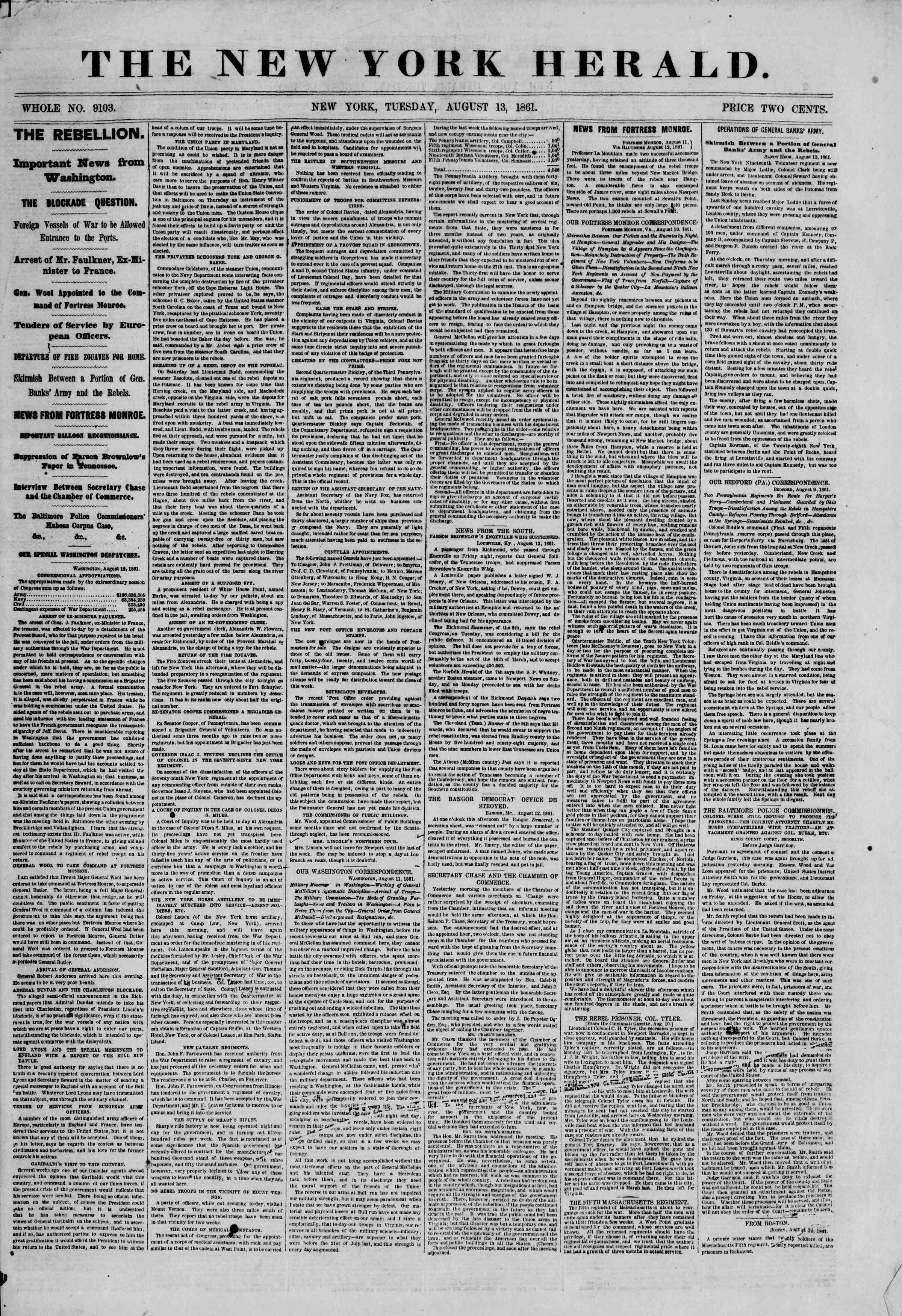 Newspaper of The New York Herald dated August 13, 1861 Page 1