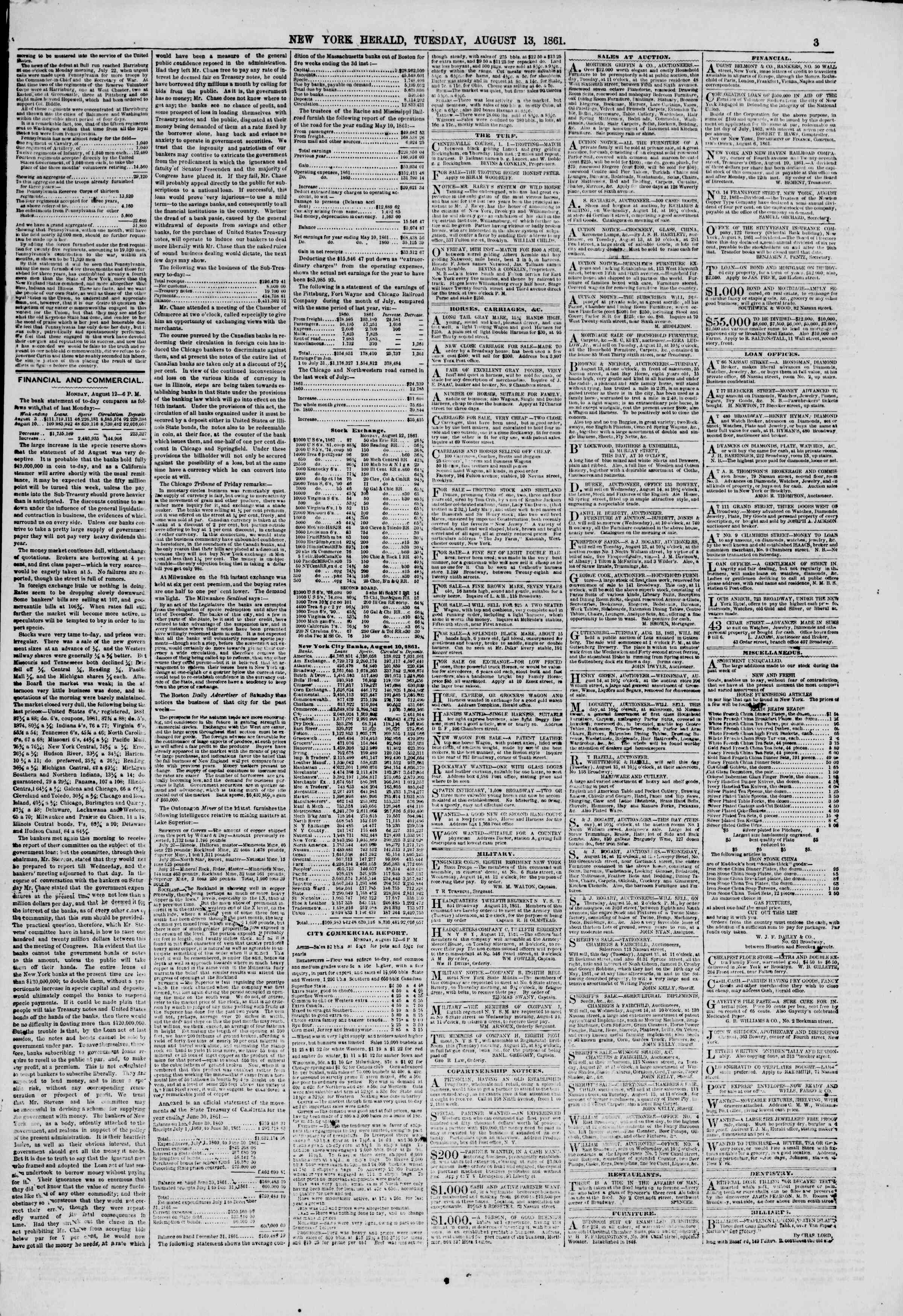Newspaper of The New York Herald dated August 13, 1861 Page 3