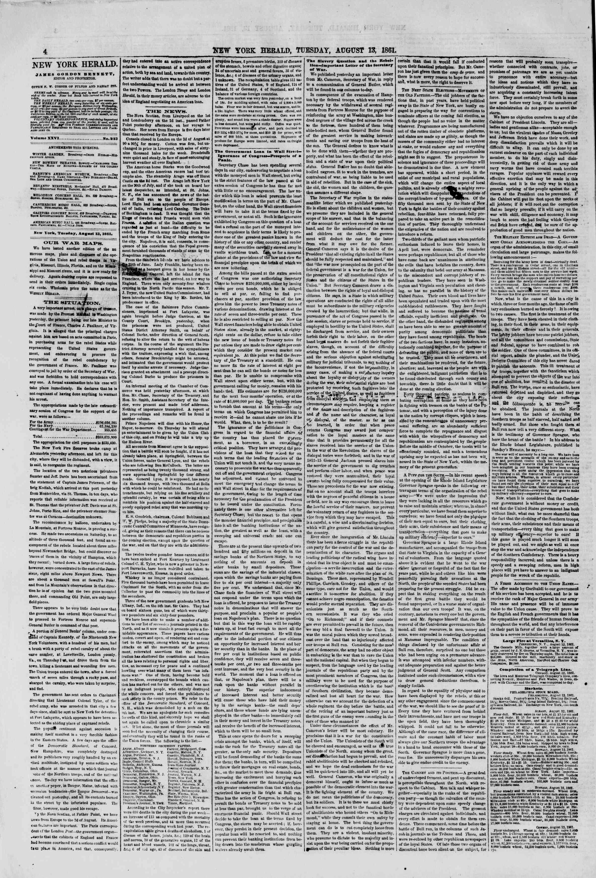 Newspaper of The New York Herald dated August 13, 1861 Page 4