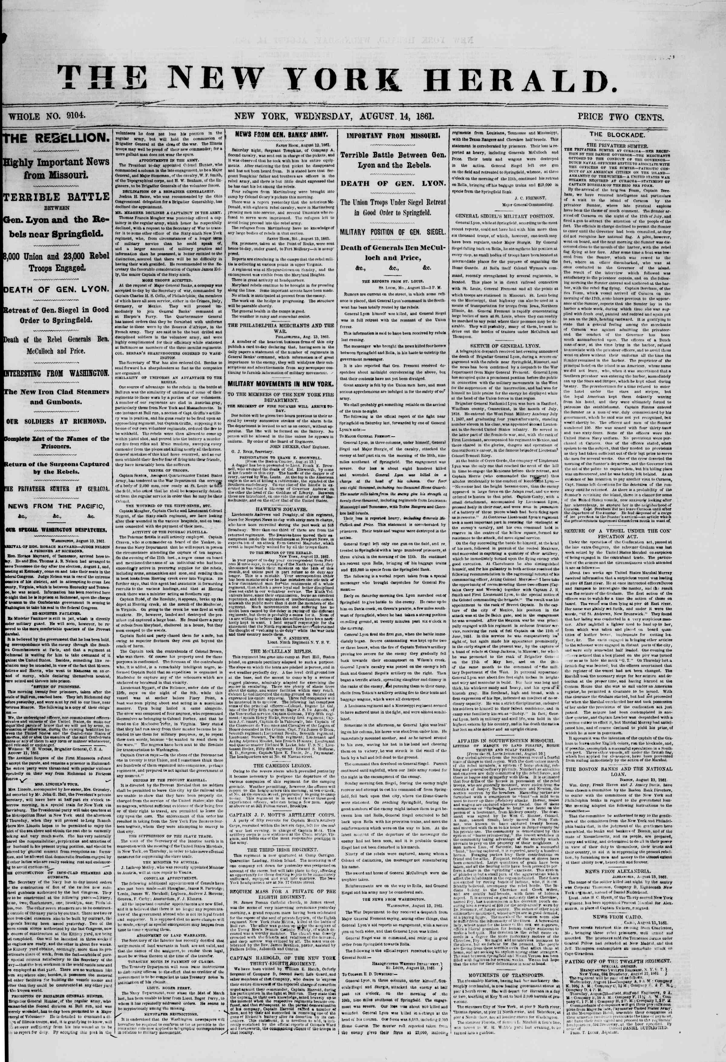 Newspaper of The New York Herald dated August 14, 1861 Page 1