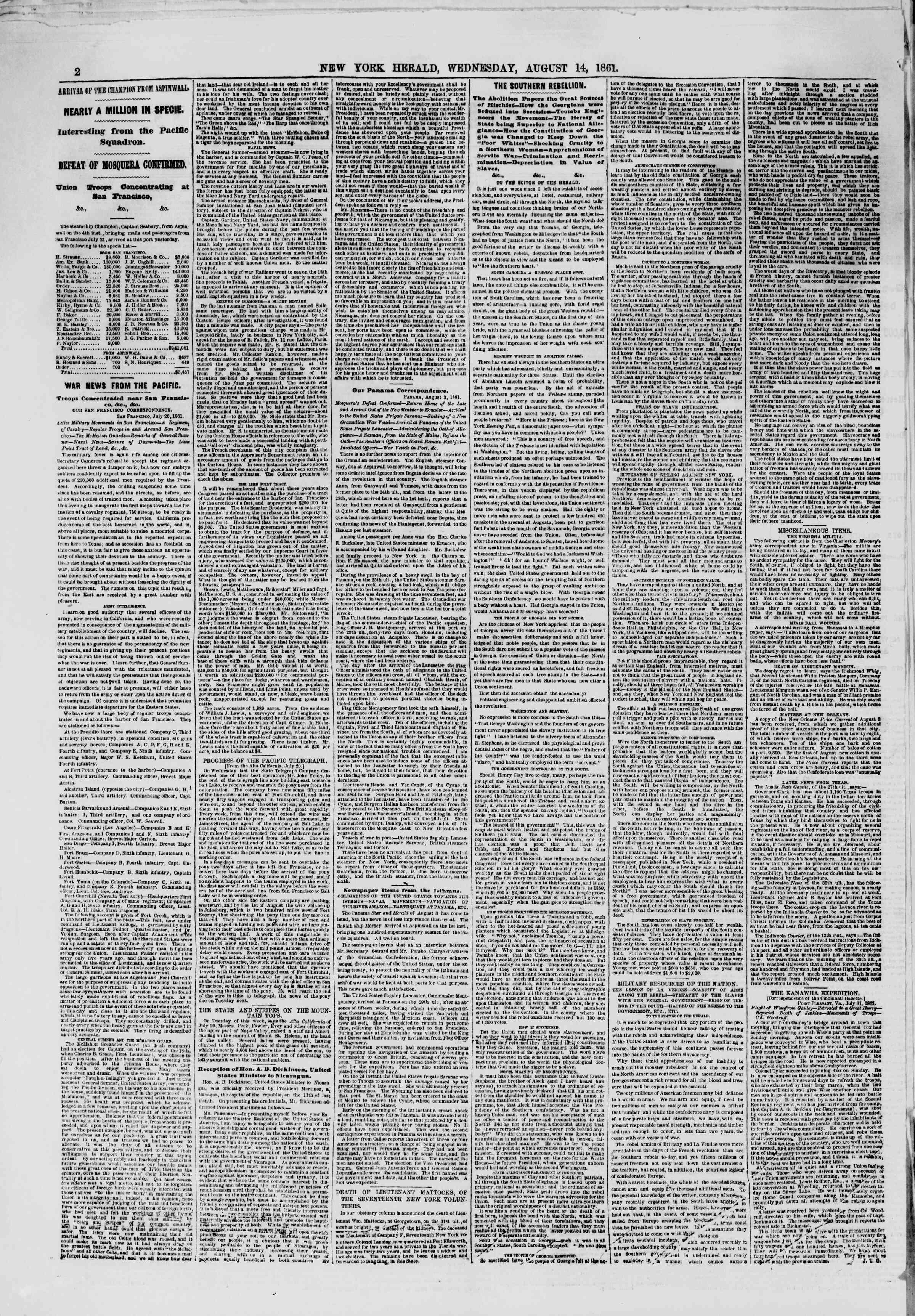 14 Ağustos 1861 tarihli The New York Herald Gazetesi Sayfa 2