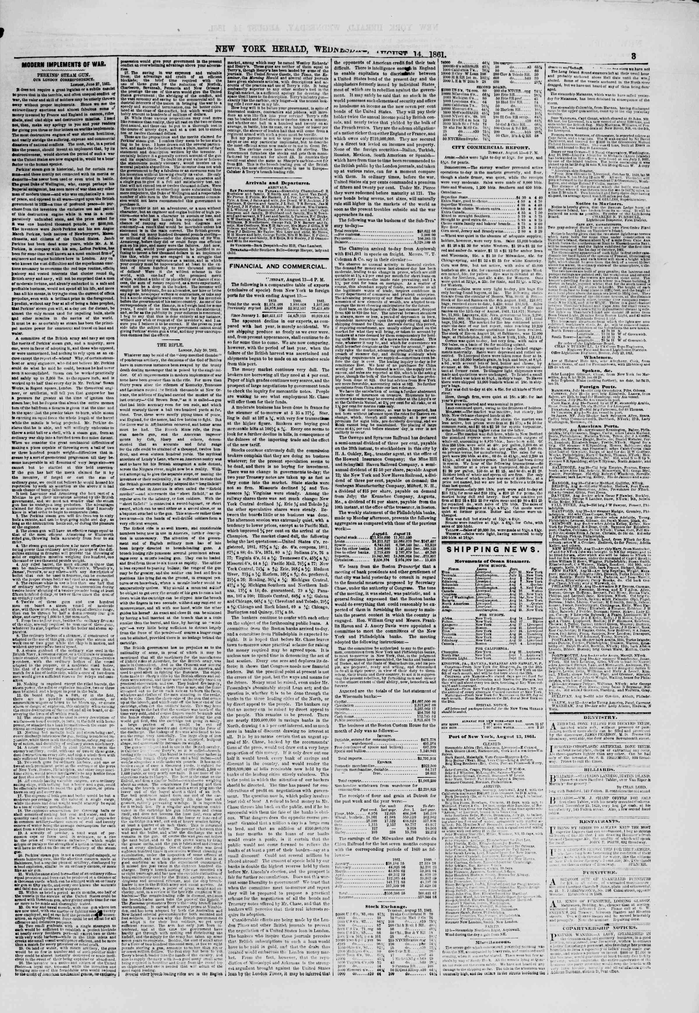 Newspaper of The New York Herald dated August 14, 1861 Page 3
