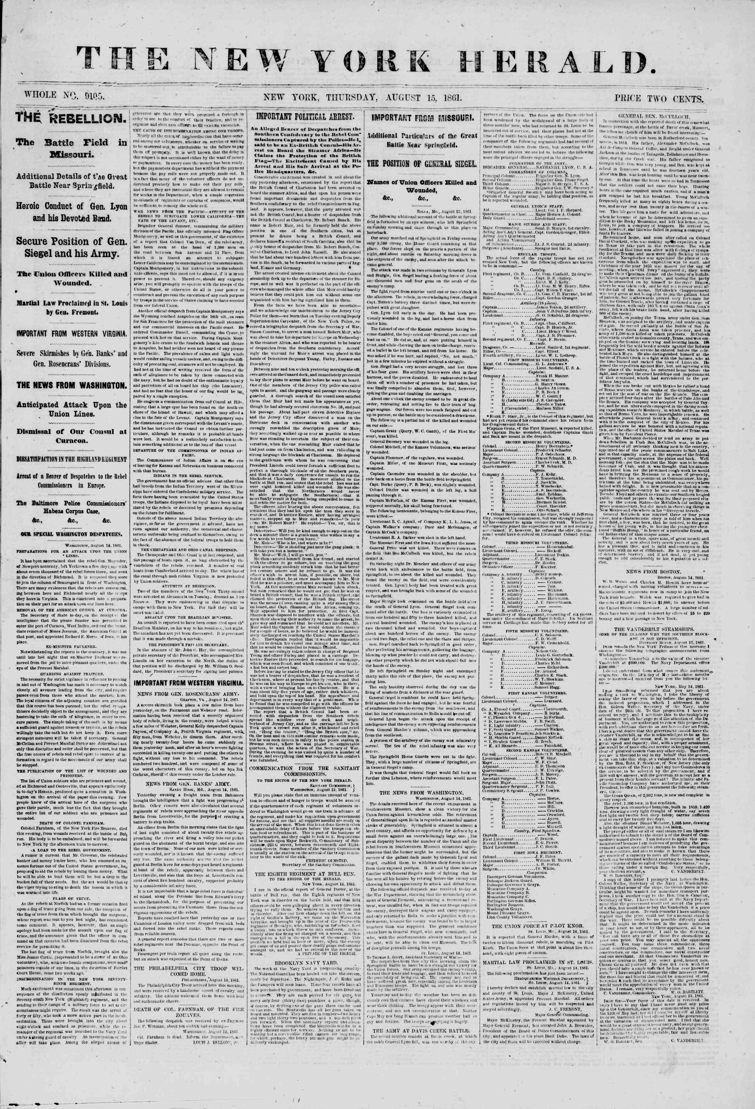 Newspaper of The New York Herald dated August 15, 1861 Page 1