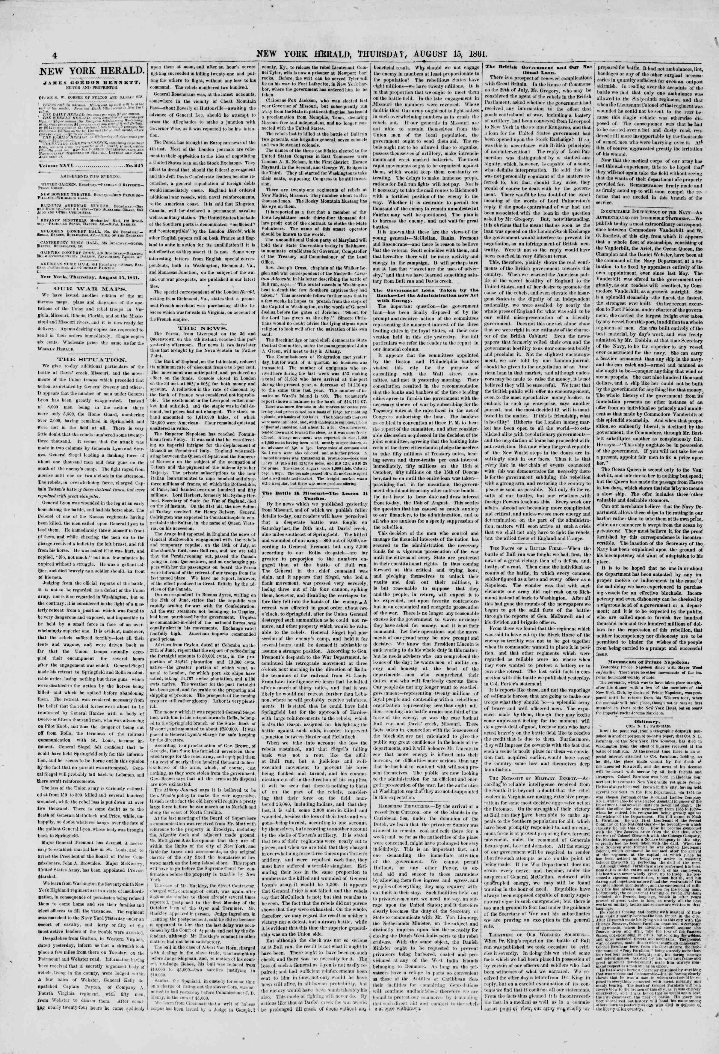 Newspaper of The New York Herald dated August 15, 1861 Page 4