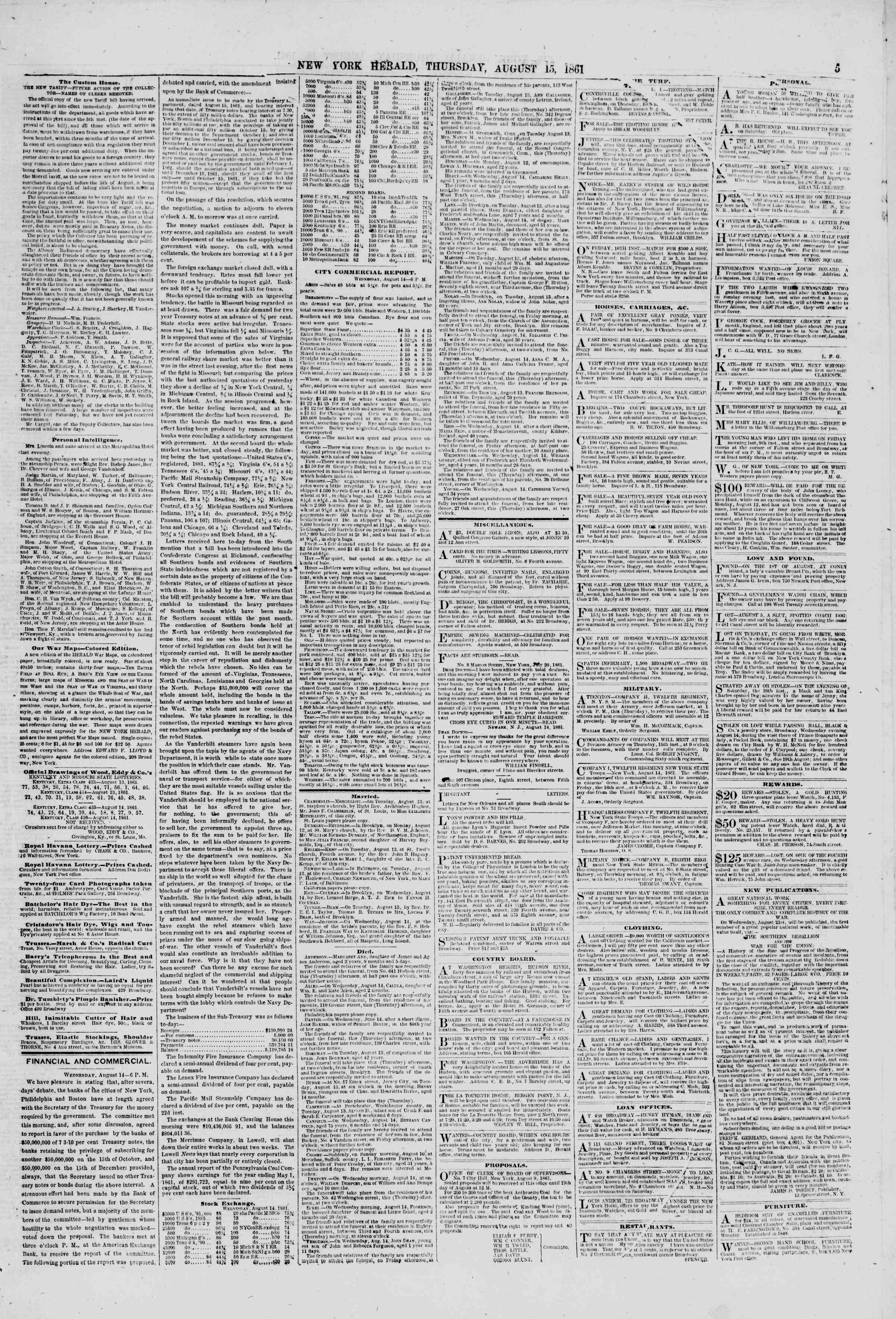 Newspaper of The New York Herald dated August 15, 1861 Page 5