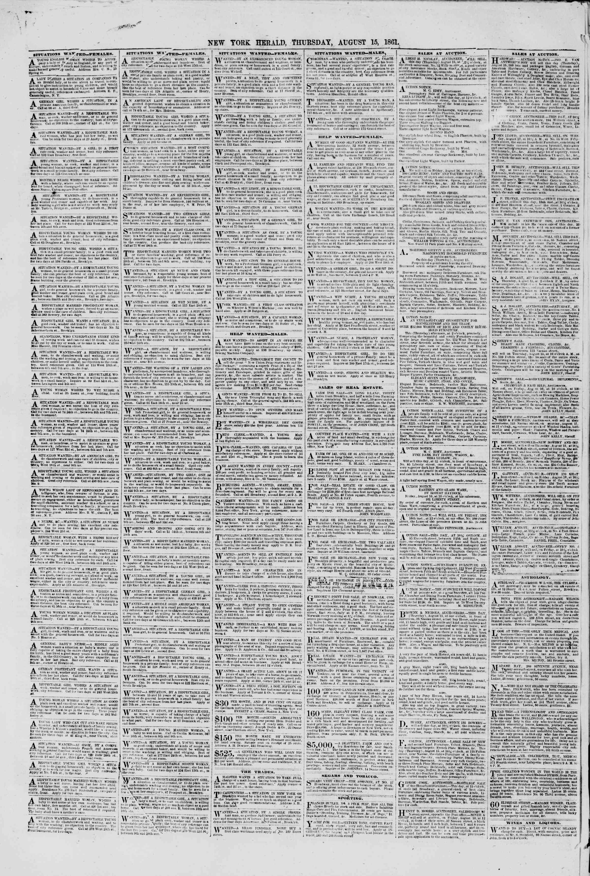 Newspaper of The New York Herald dated 15 Ağustos 1861 Page 6