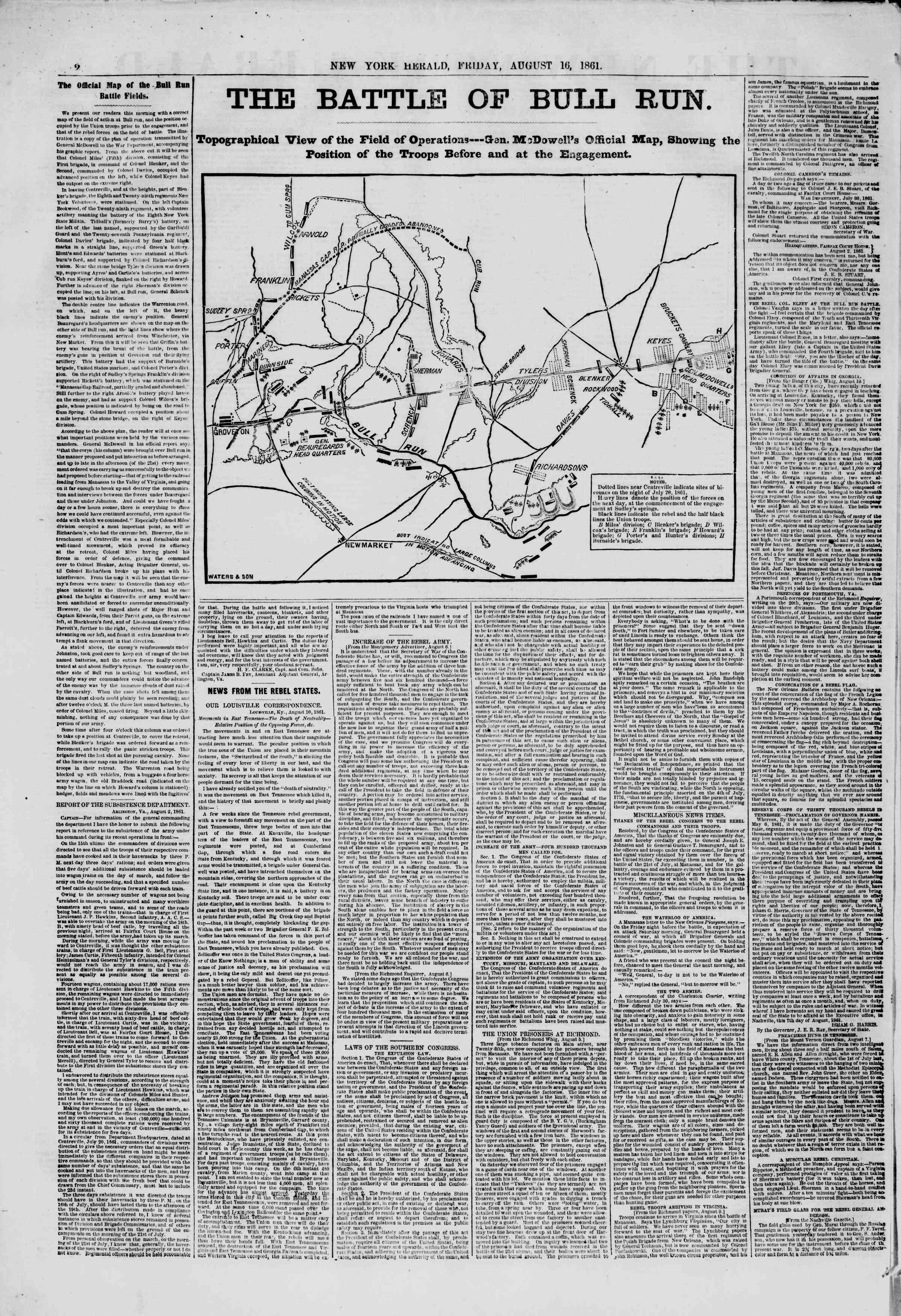 Newspaper of The New York Herald dated August 16, 1861 Page 2