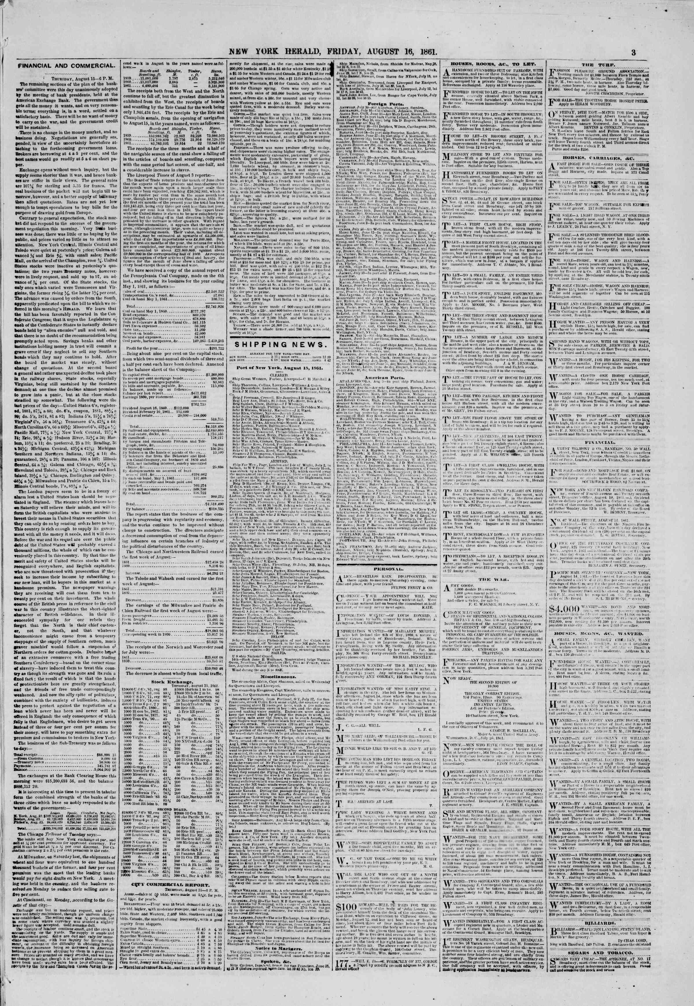 Newspaper of The New York Herald dated August 16, 1861 Page 3