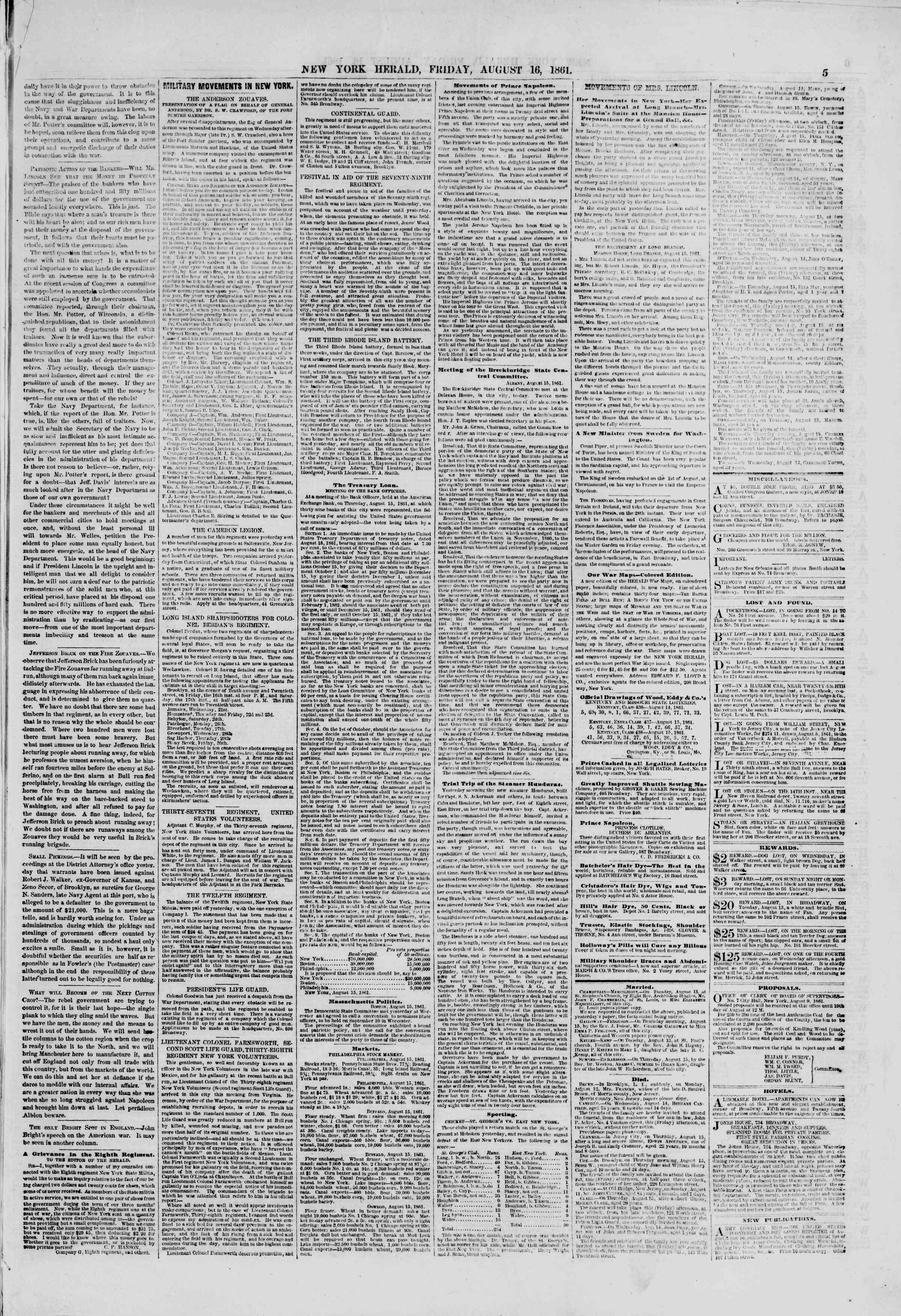 Newspaper of The New York Herald dated August 16, 1861 Page 5