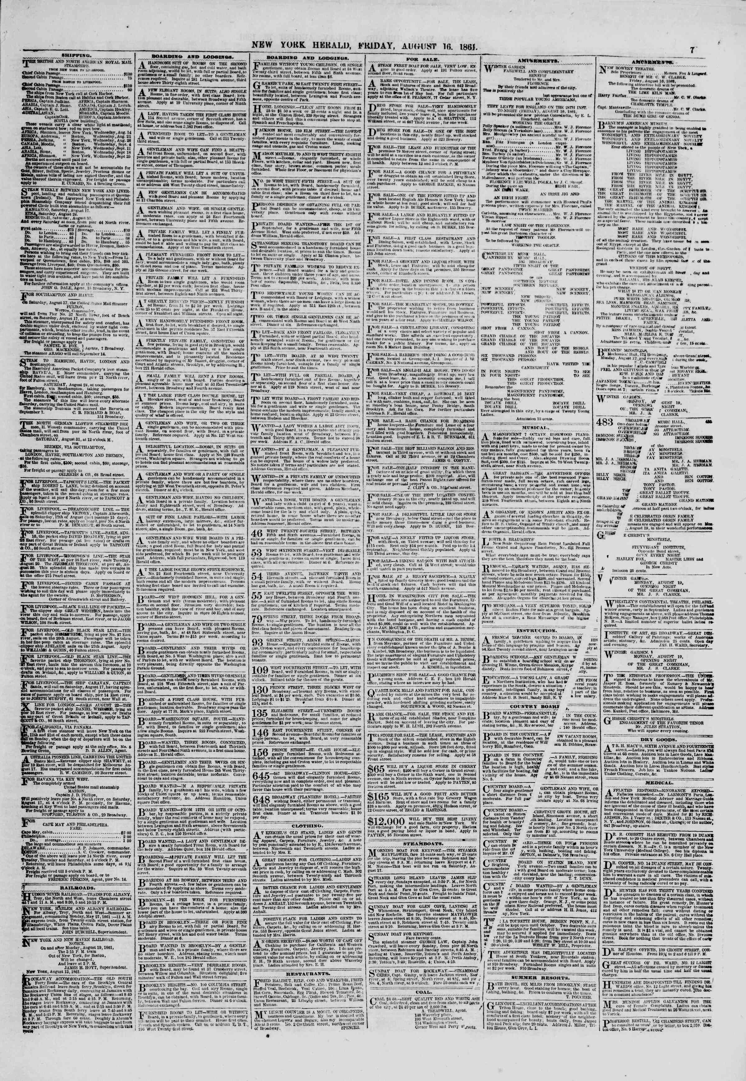 Newspaper of The New York Herald dated August 16, 1861 Page 7