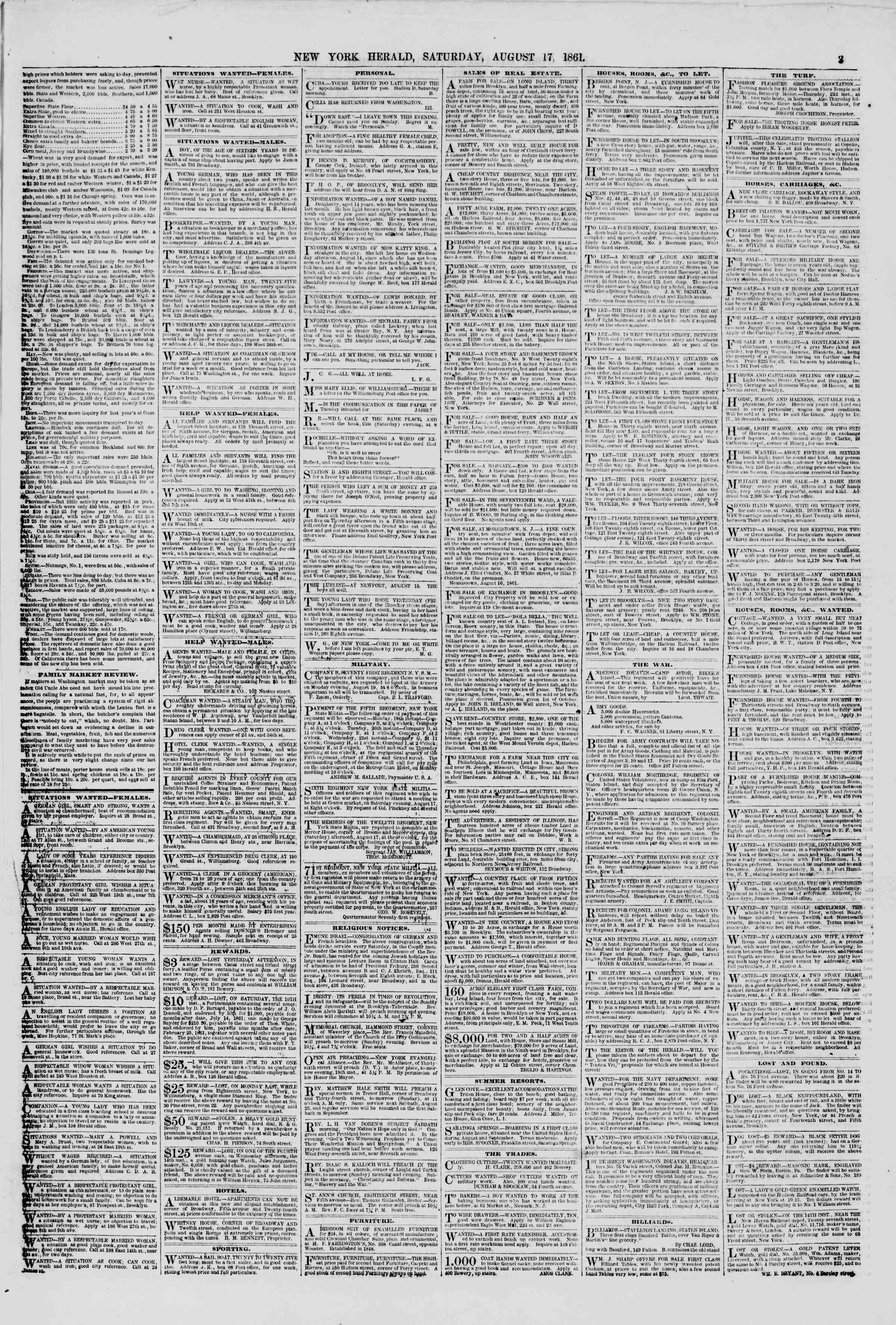Newspaper of The New York Herald dated August 17, 1861 Page 3