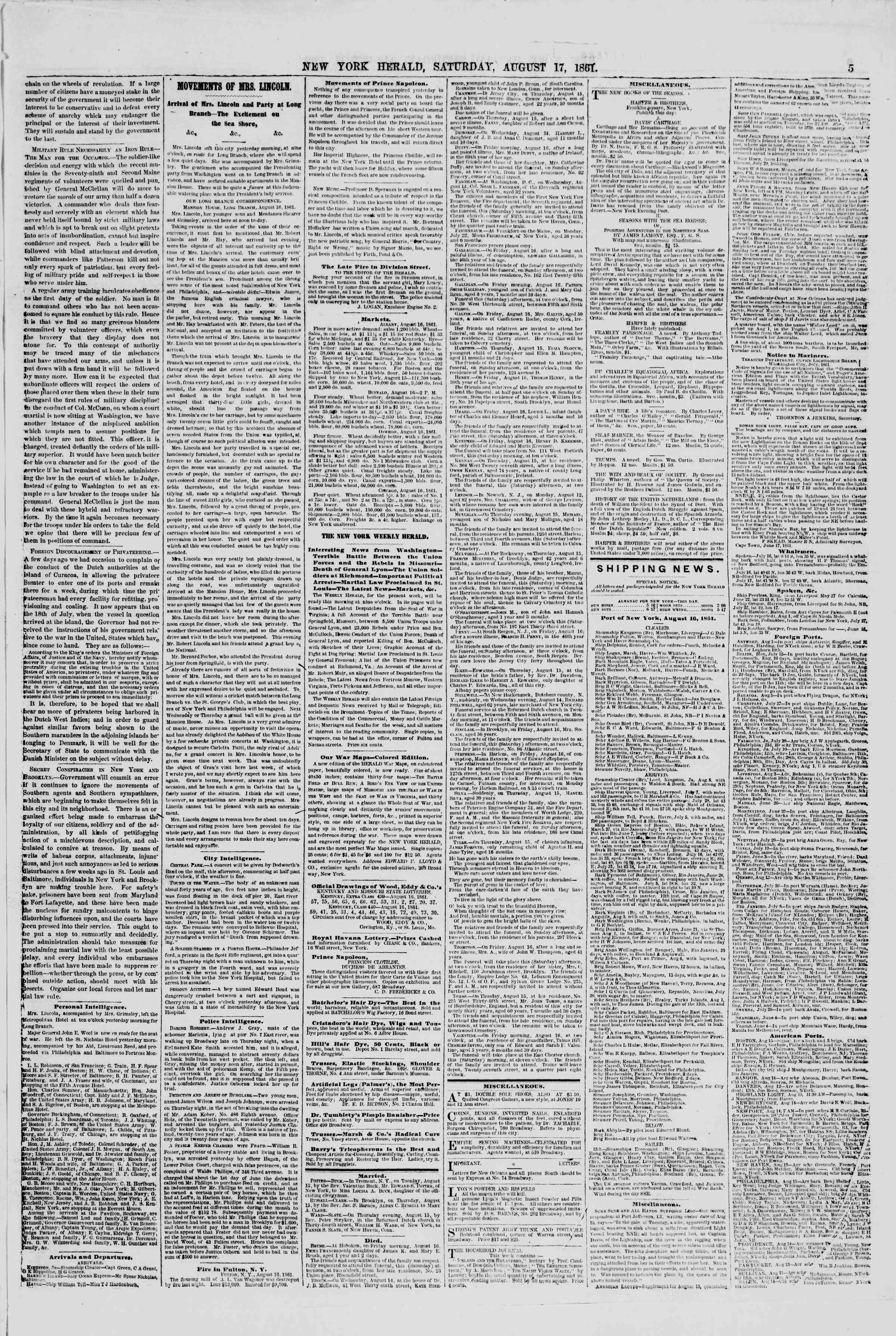 Newspaper of The New York Herald dated August 17, 1861 Page 5