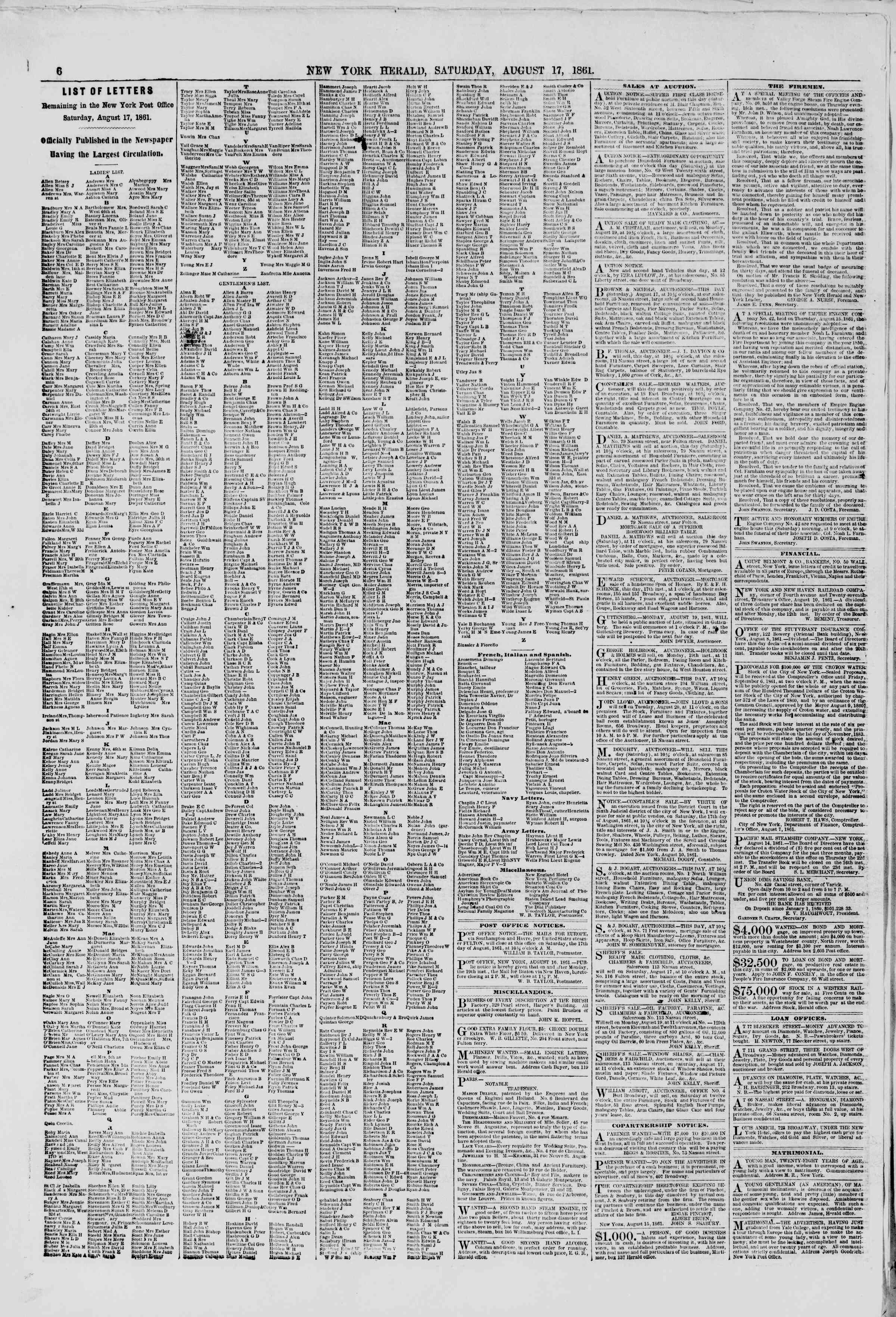 Newspaper of The New York Herald dated August 17, 1861 Page 6