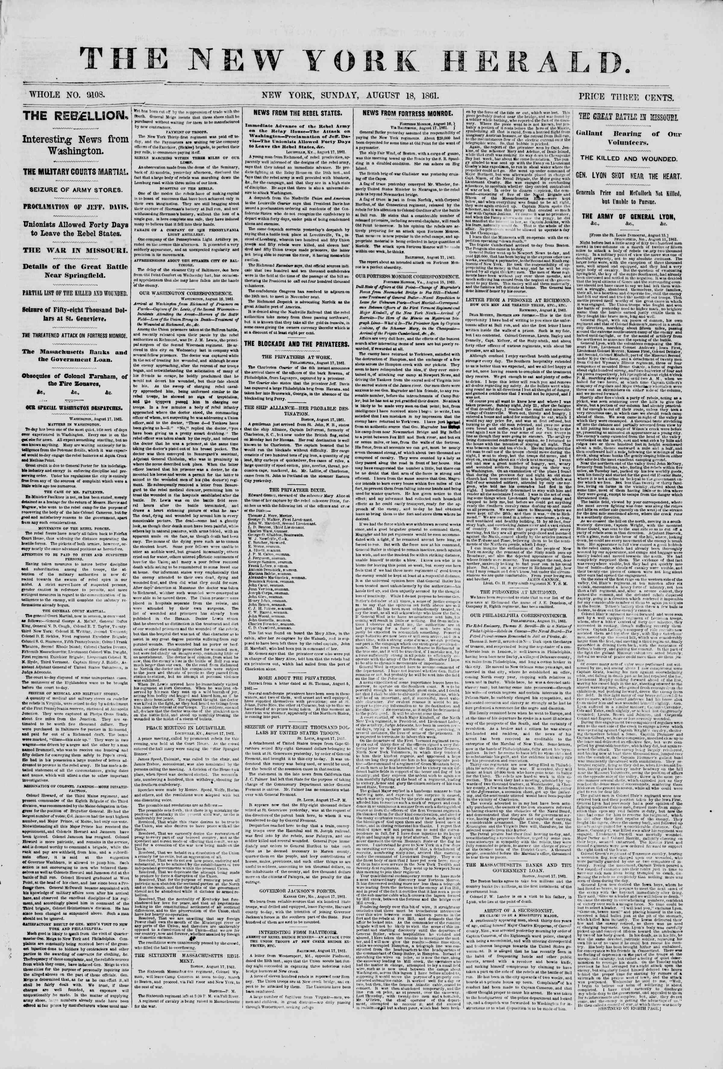 Newspaper of The New York Herald dated August 18, 1861 Page 1