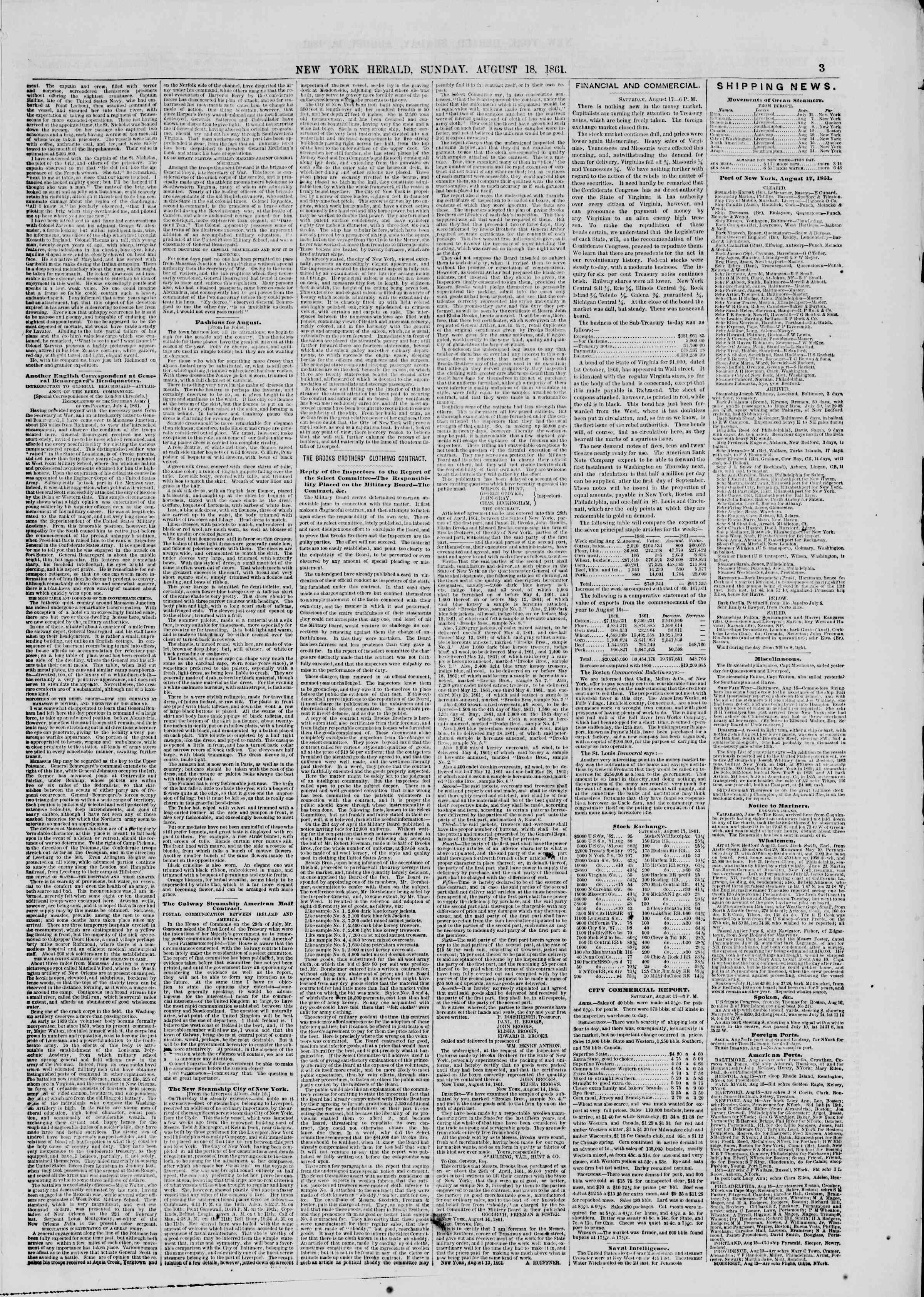Newspaper of The New York Herald dated August 18, 1861 Page 3