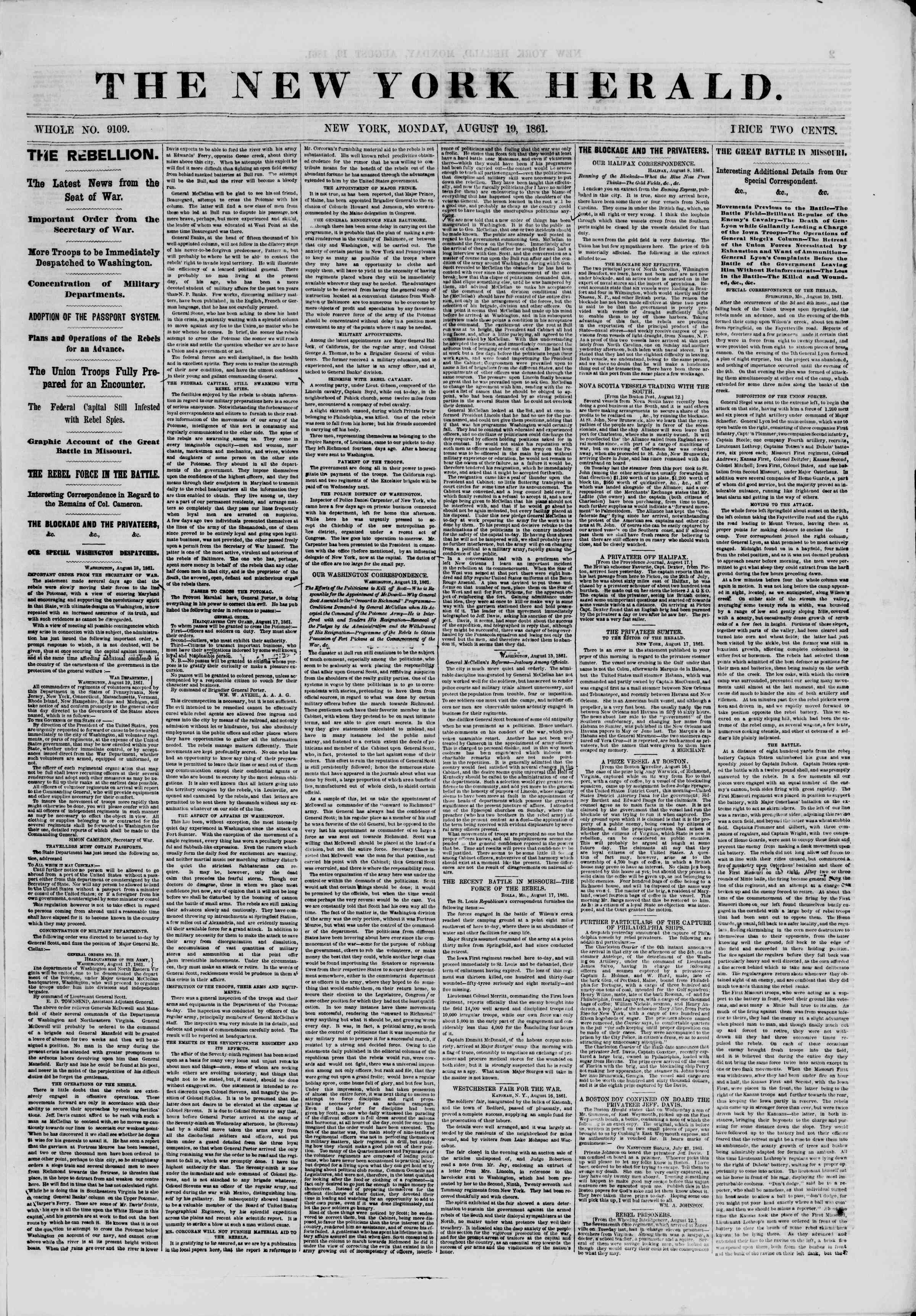 Newspaper of The New York Herald dated August 19, 1861 Page 1