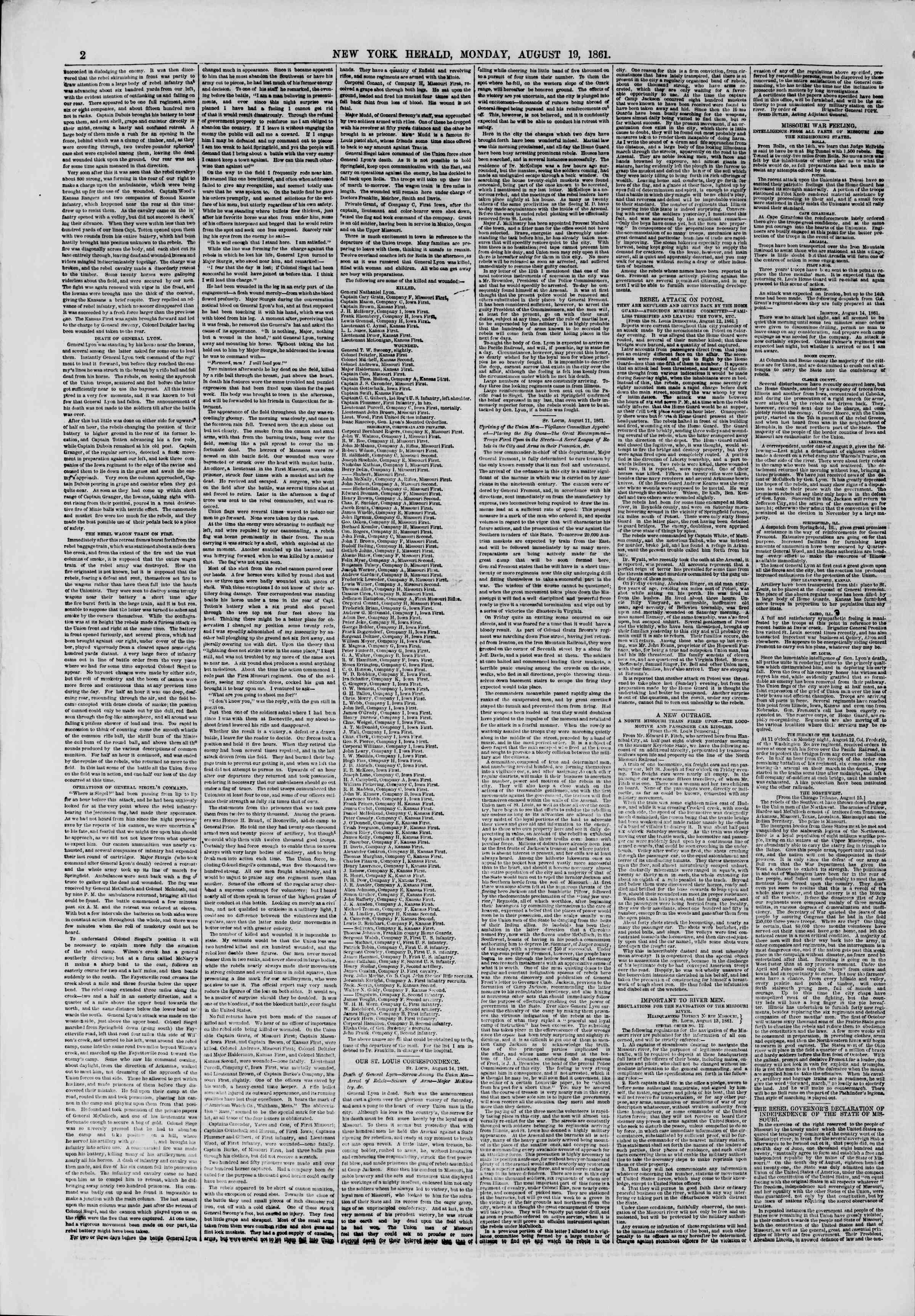 Newspaper of The New York Herald dated August 19, 1861 Page 2