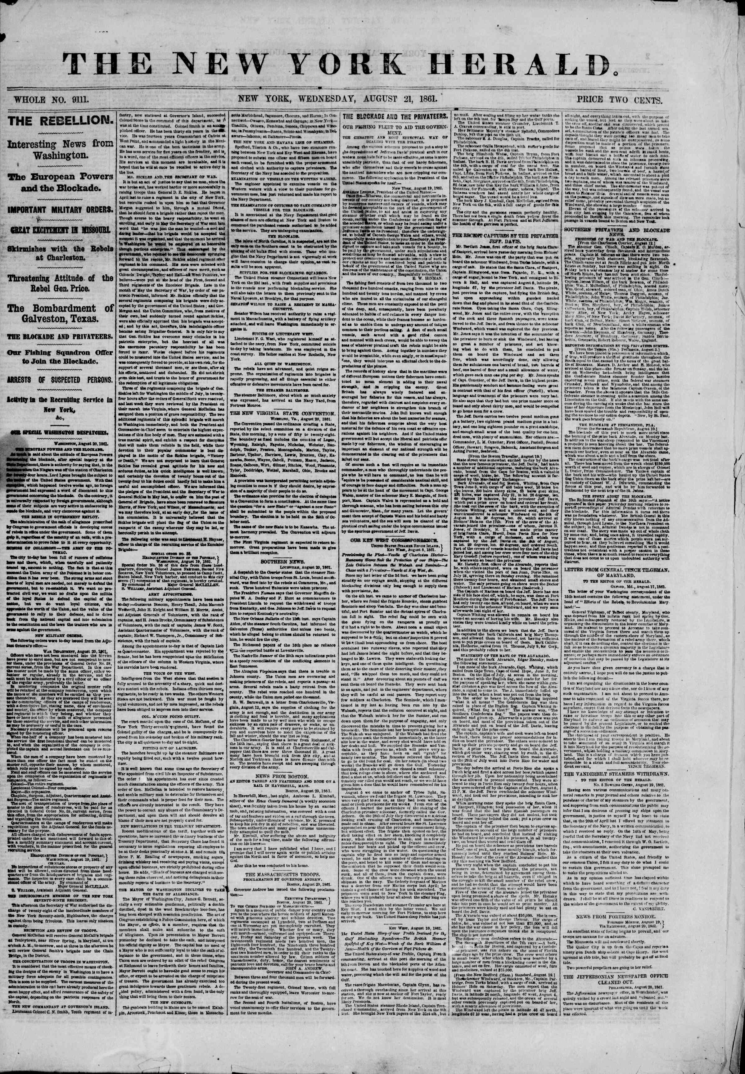 Newspaper of The New York Herald dated August 21, 1861 Page 1