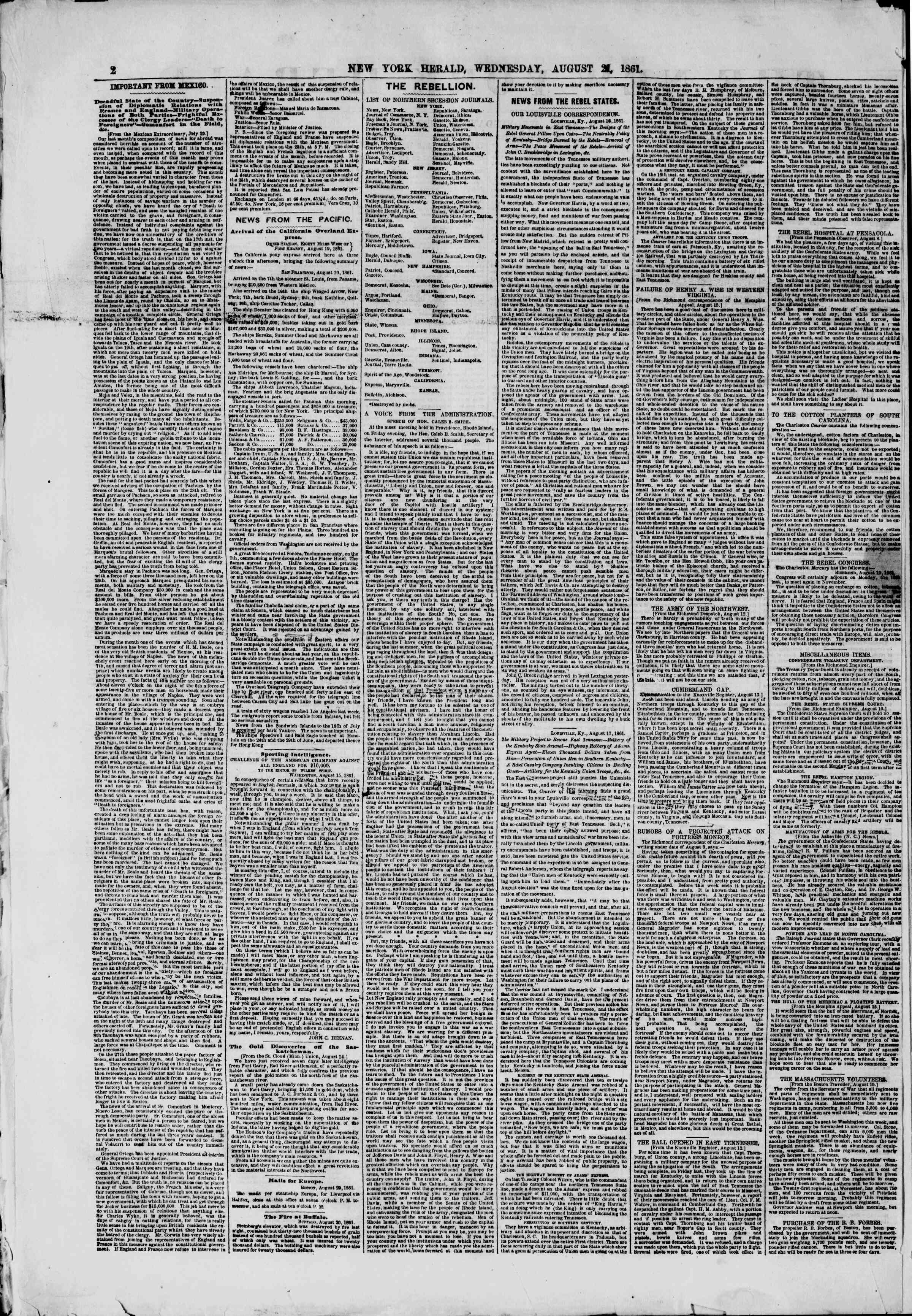 Newspaper of The New York Herald dated August 21, 1861 Page 2