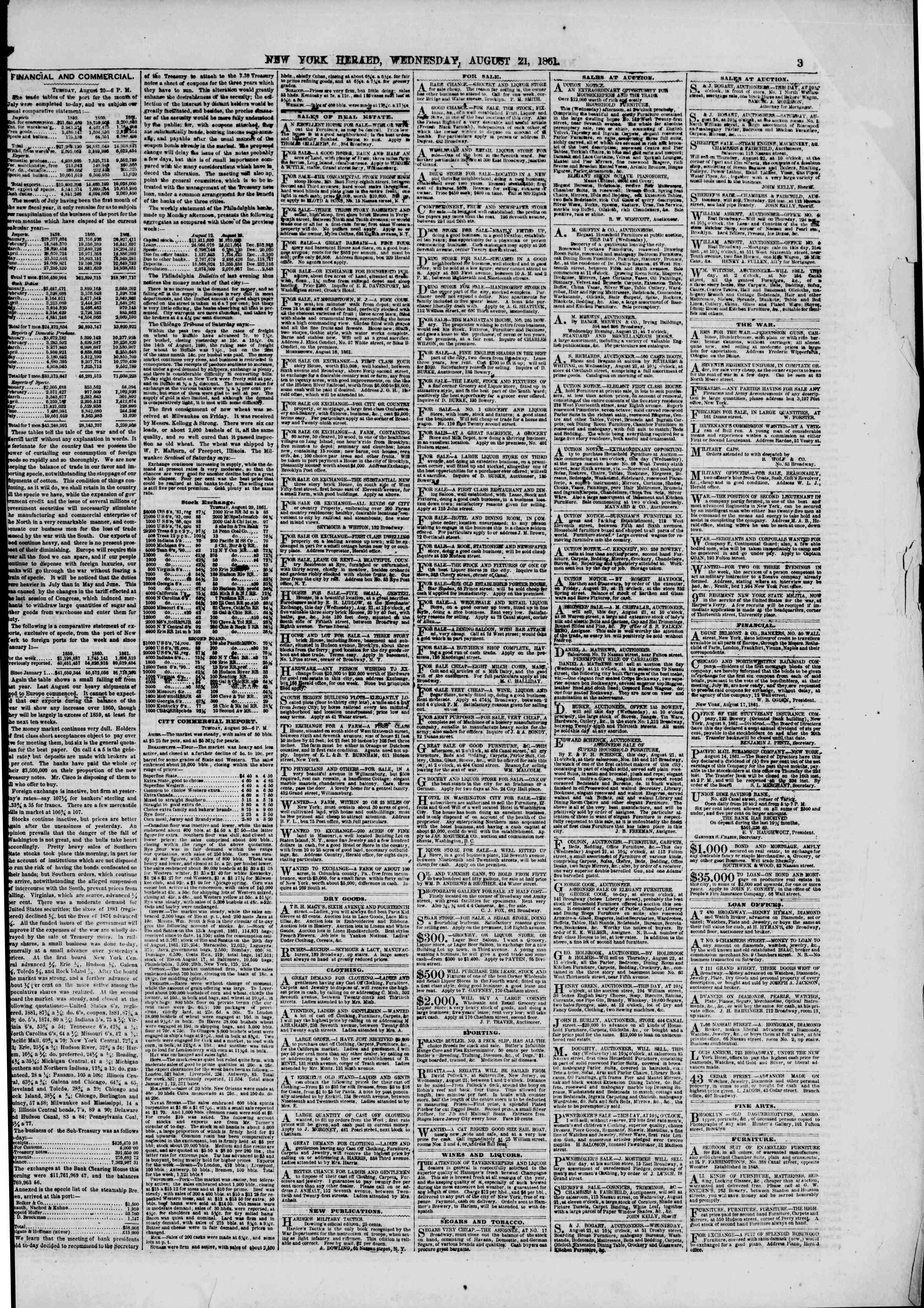Newspaper of The New York Herald dated August 21, 1861 Page 3