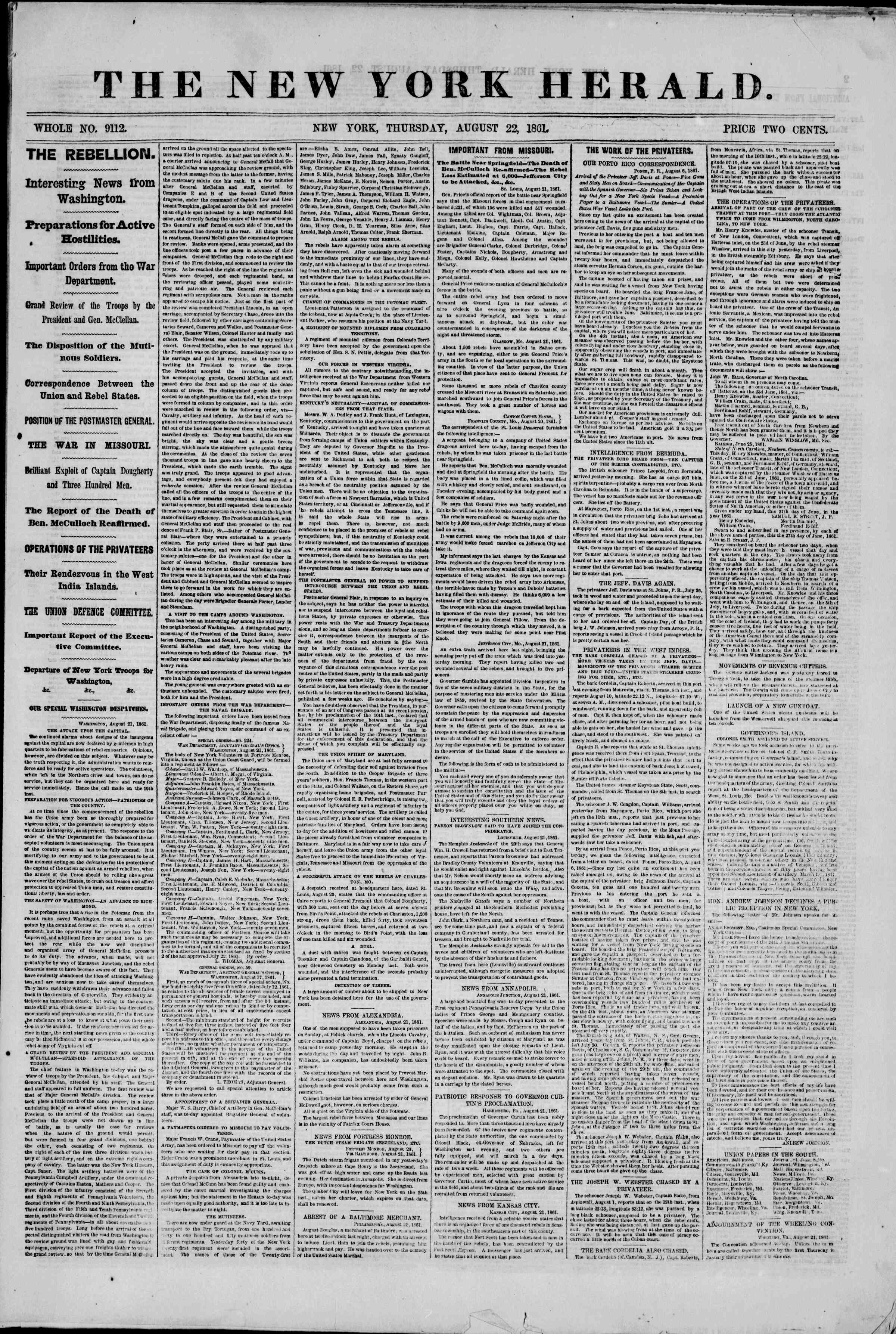 Newspaper of The New York Herald dated August 22, 1861 Page 1