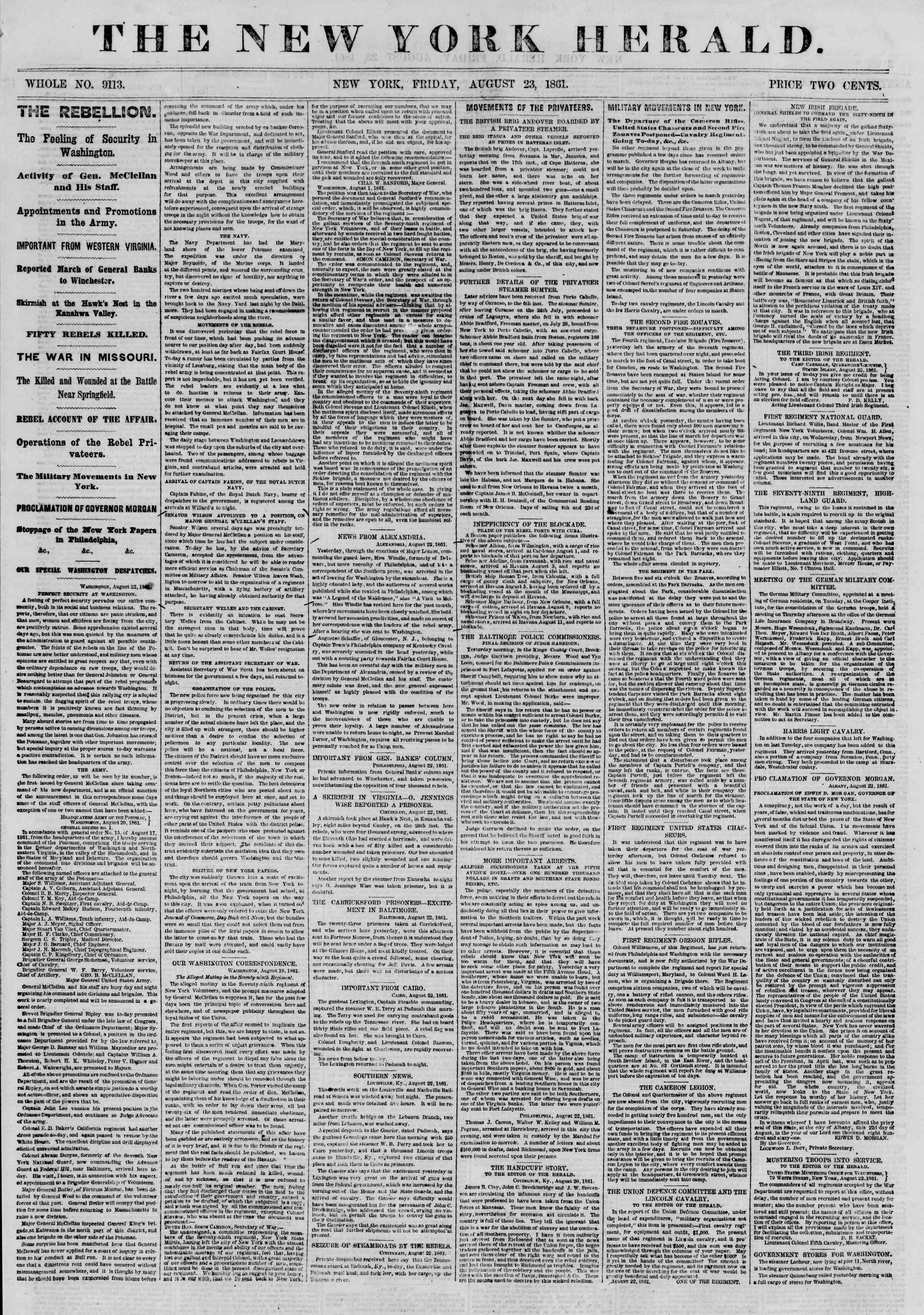 Newspaper of The New York Herald dated August 23, 1861 Page 1