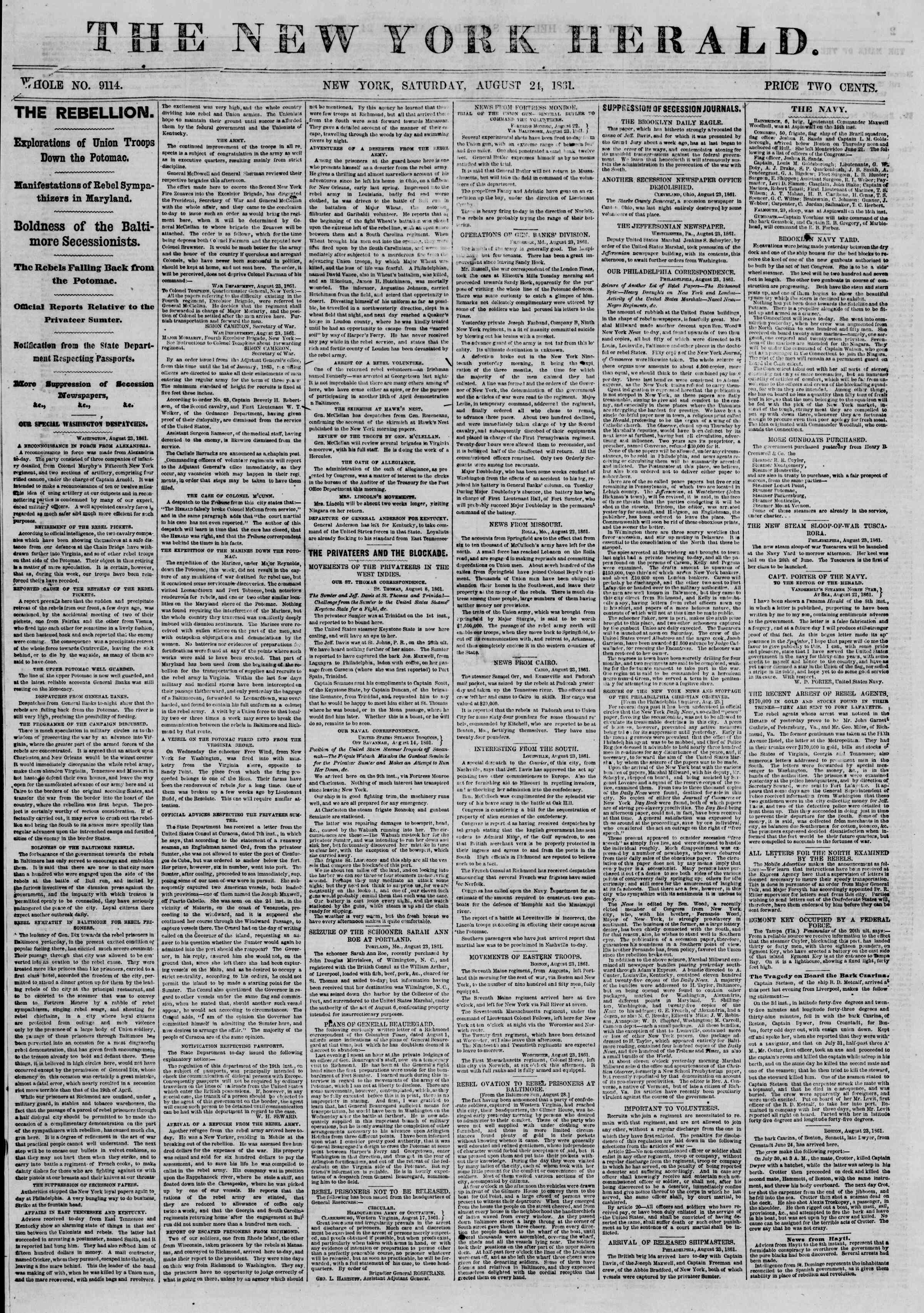 Newspaper of The New York Herald dated August 24, 1861 Page 1