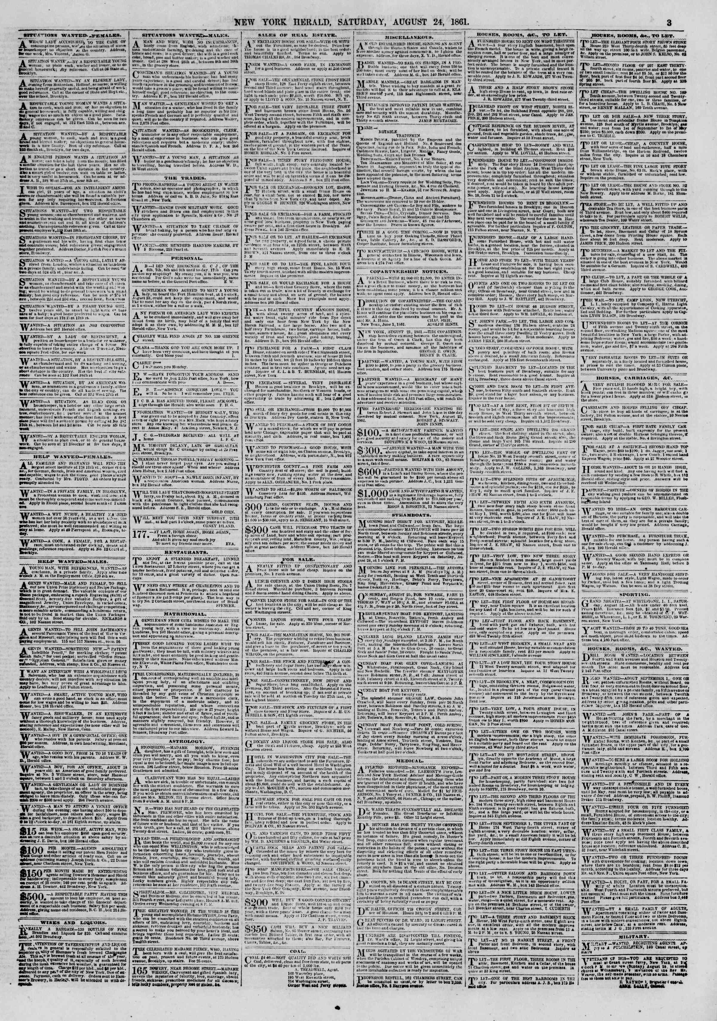 Newspaper of The New York Herald dated August 24, 1861 Page 3