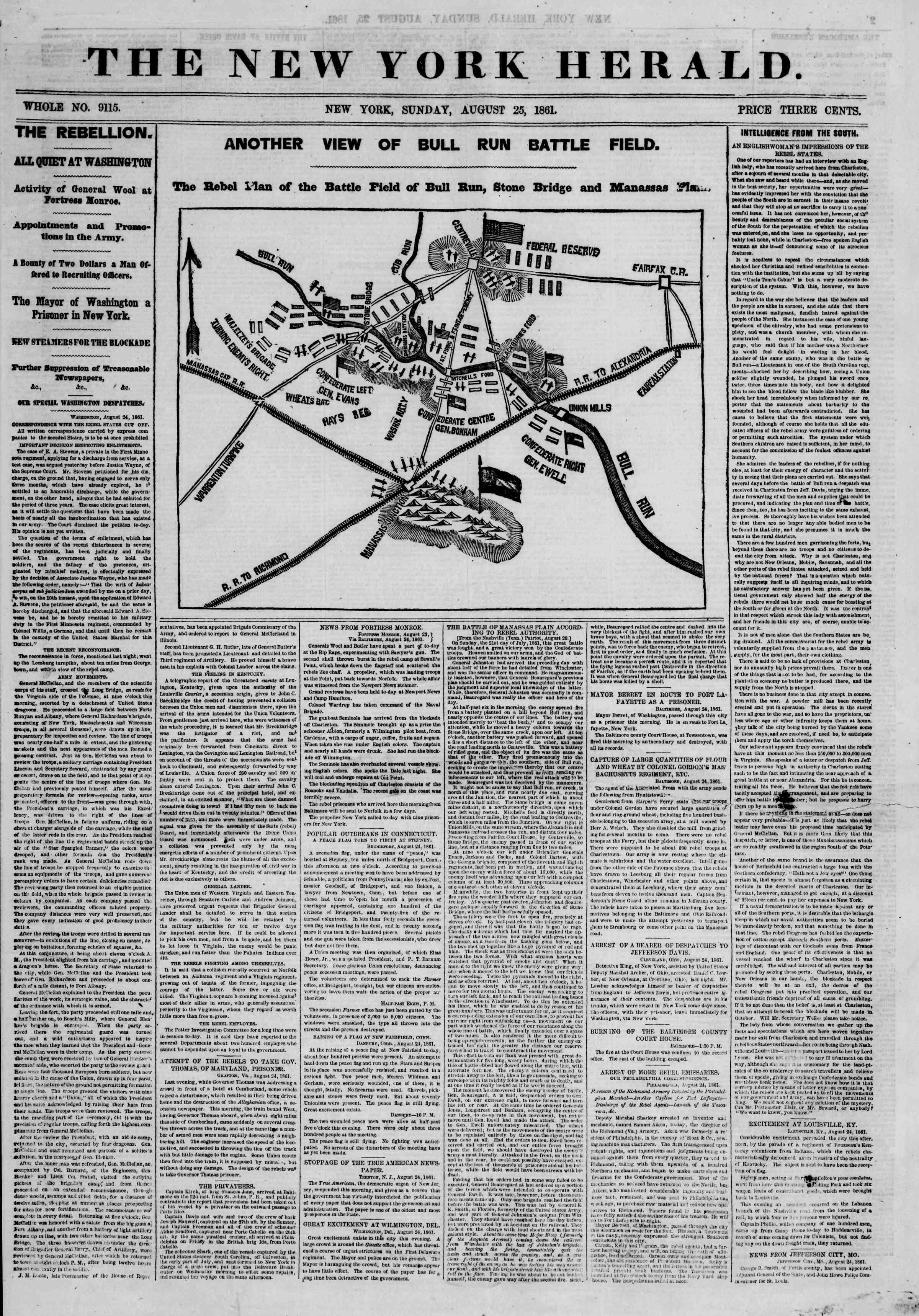 25 Ağustos 1861 tarihli The New York Herald Gazetesi Sayfa 1