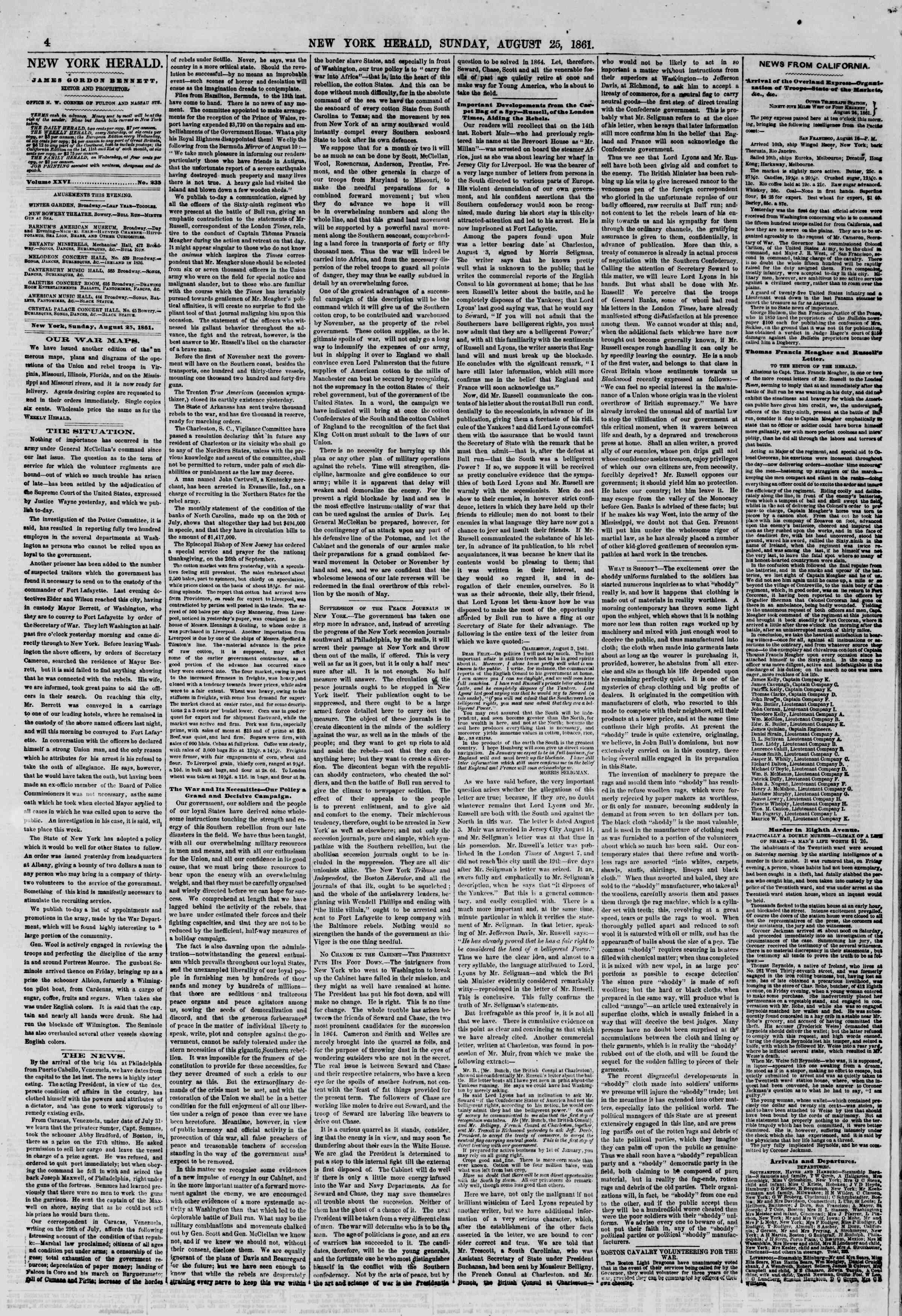 Newspaper of The New York Herald dated August 25, 1861 Page 4