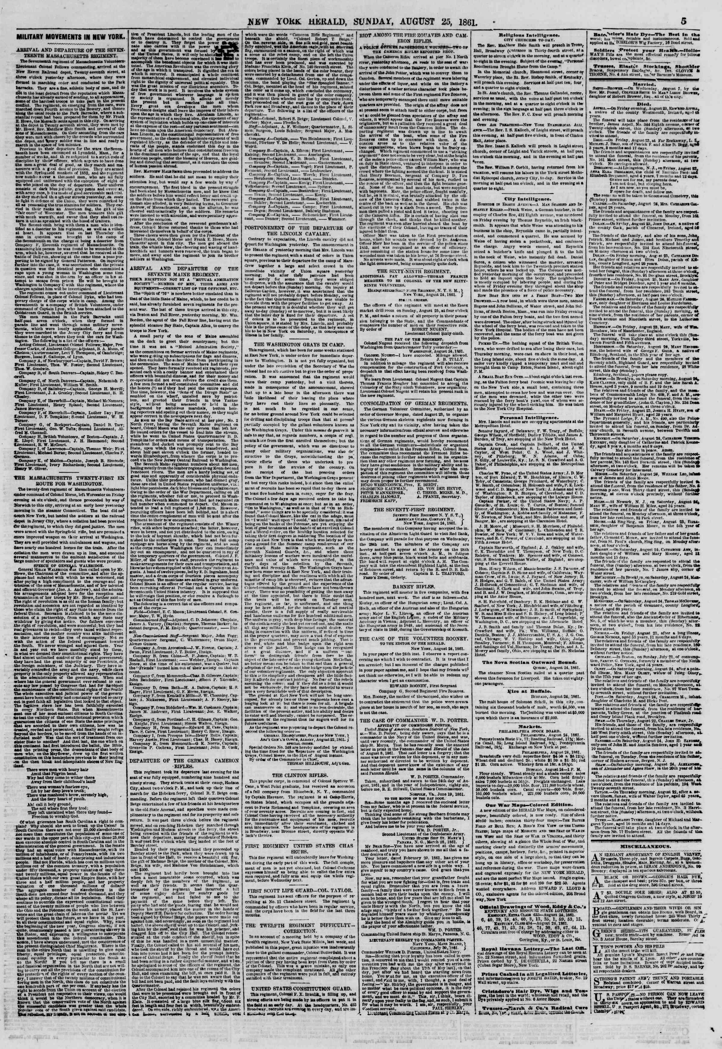 Newspaper of The New York Herald dated August 25, 1861 Page 5