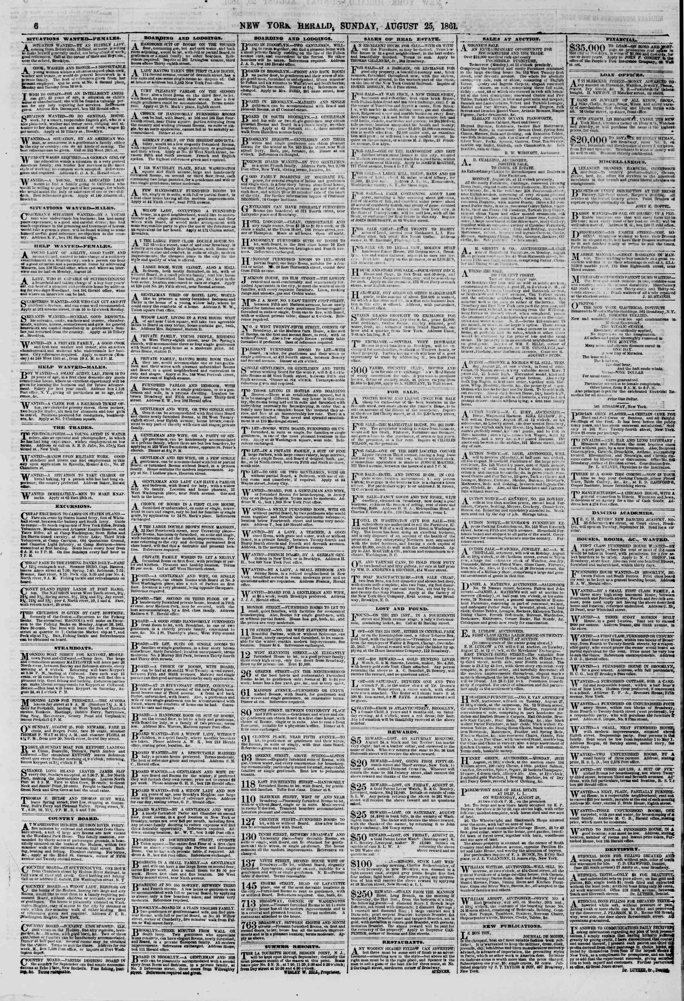 Newspaper of The New York Herald dated August 25, 1861 Page 6