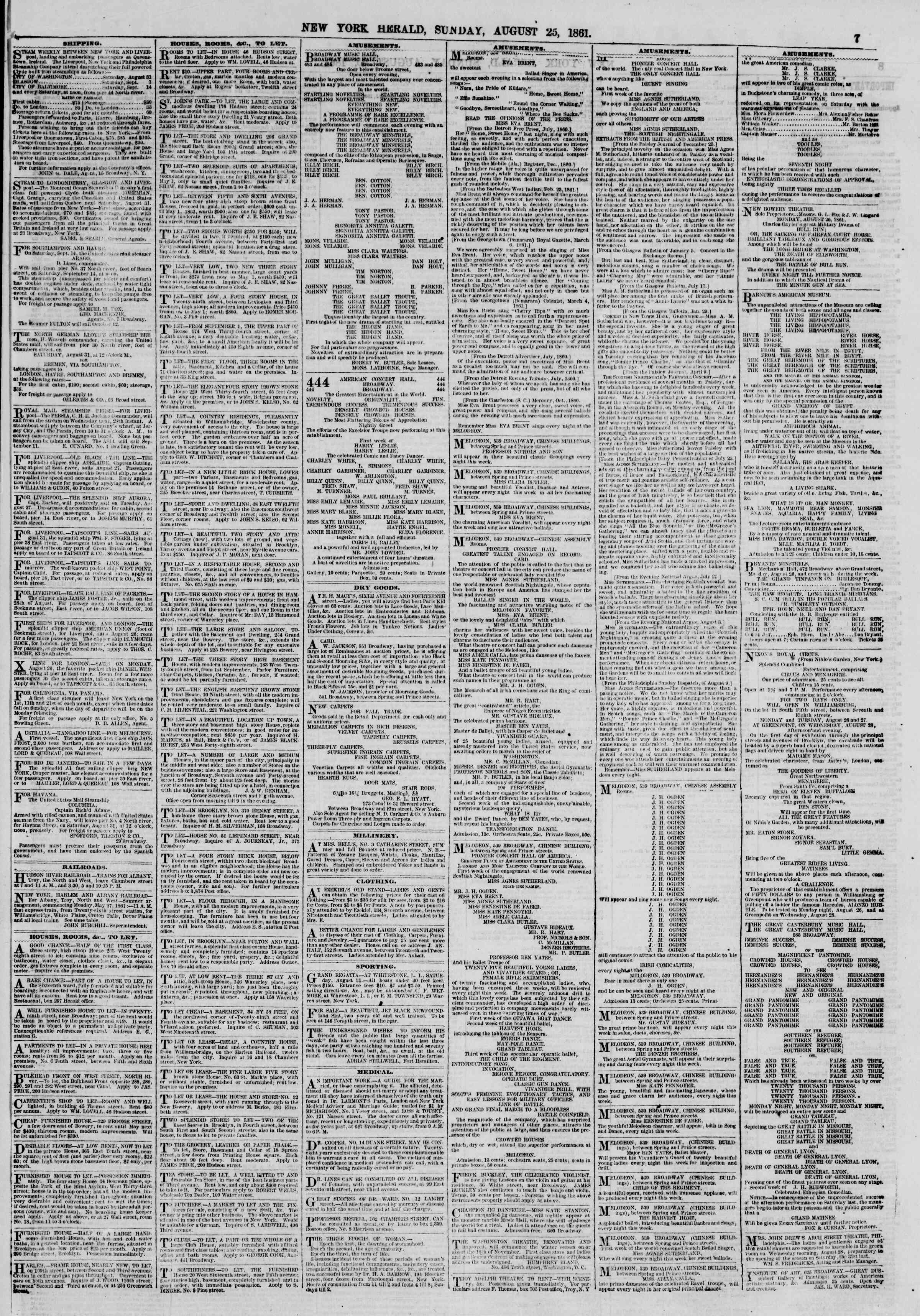 Newspaper of The New York Herald dated August 25, 1861 Page 7