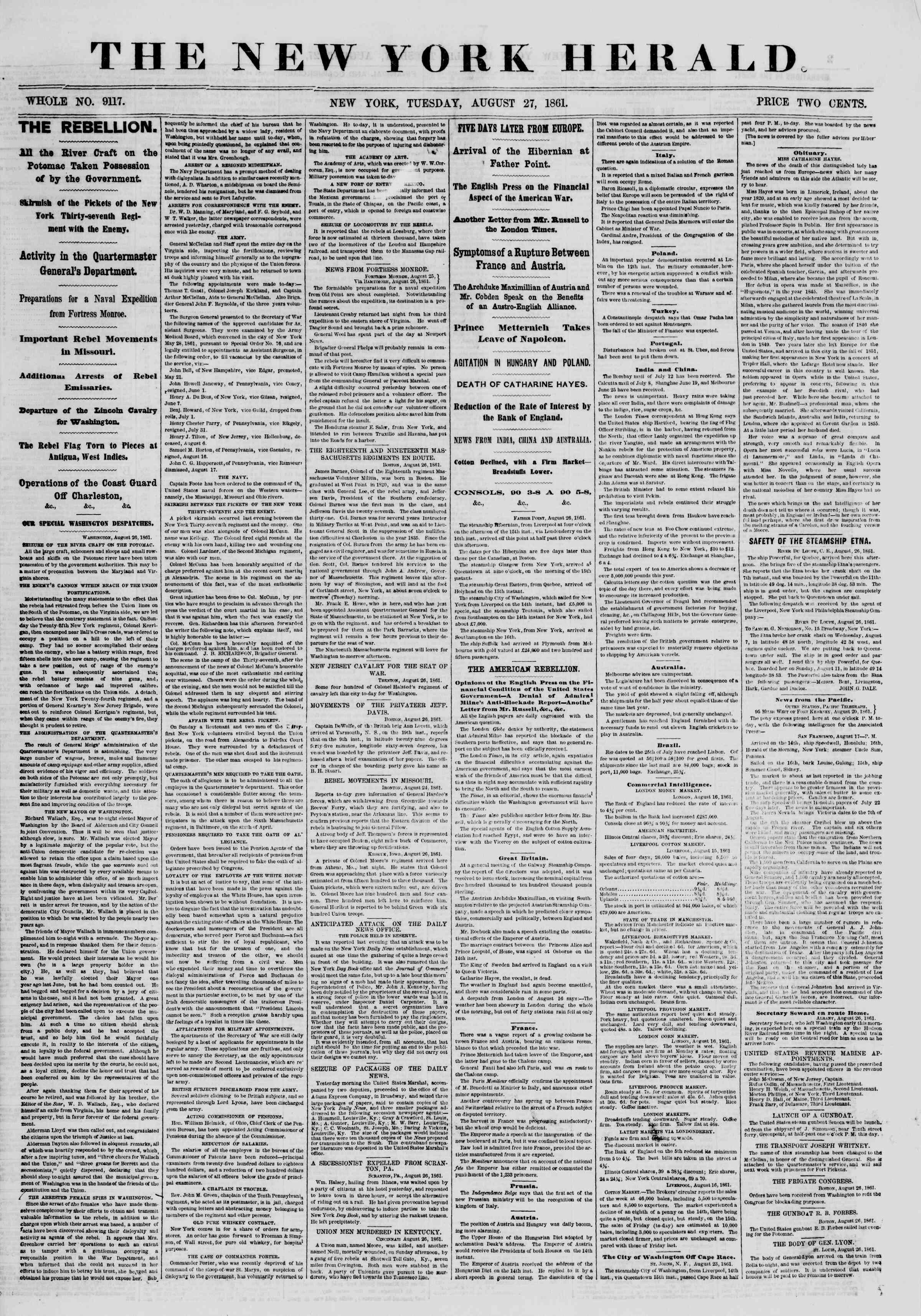 27 Ağustos 1861 tarihli The New York Herald Gazetesi Sayfa 1