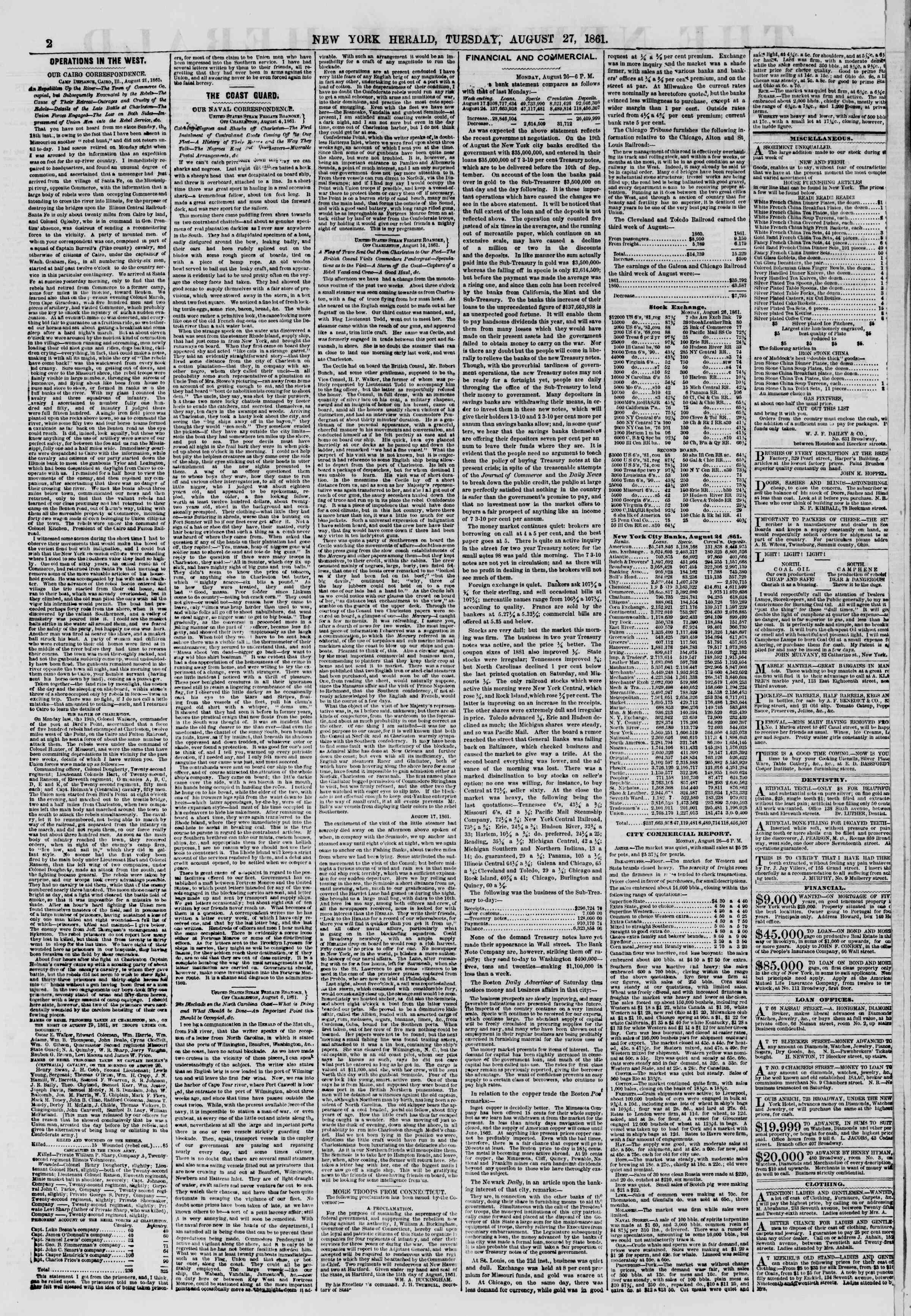 27 Ağustos 1861 tarihli The New York Herald Gazetesi Sayfa 2