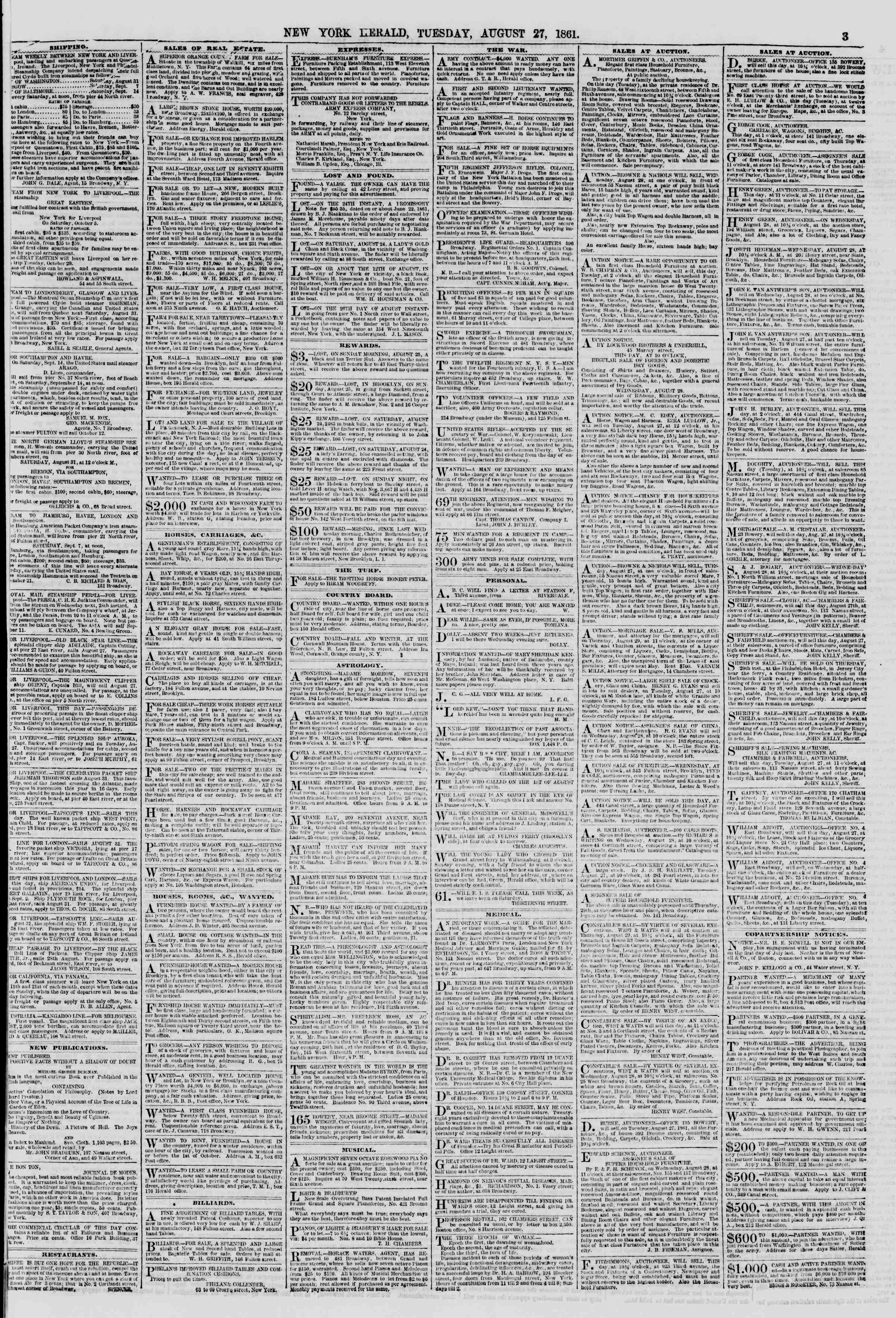 Newspaper of The New York Herald dated August 27, 1861 Page 3