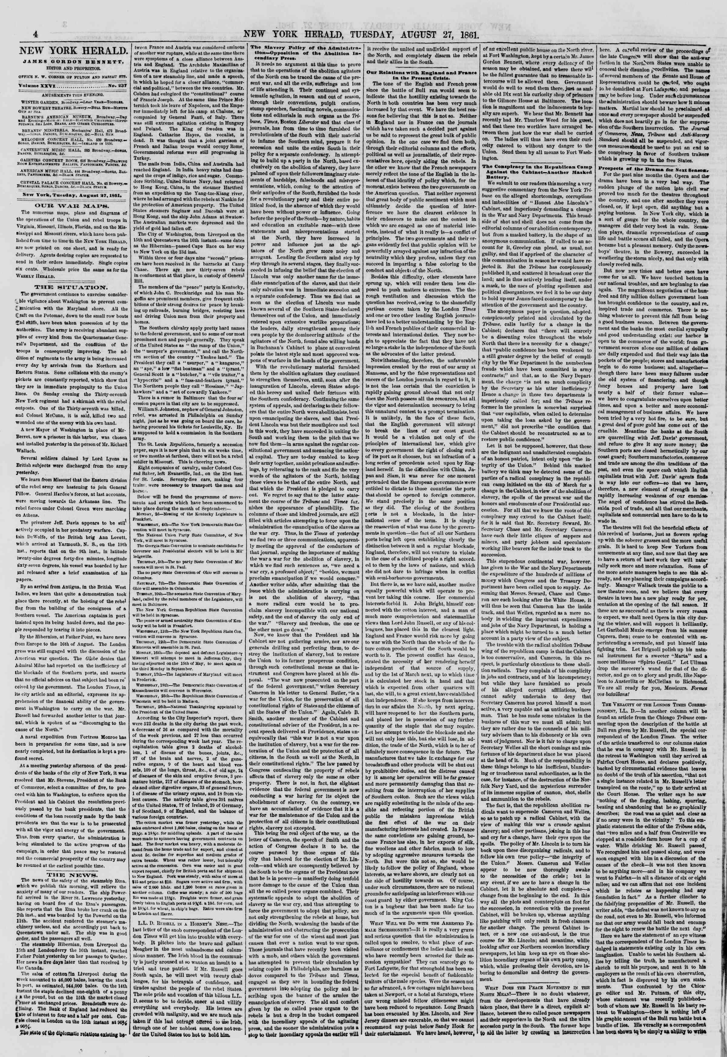 Newspaper of The New York Herald dated August 27, 1861 Page 4