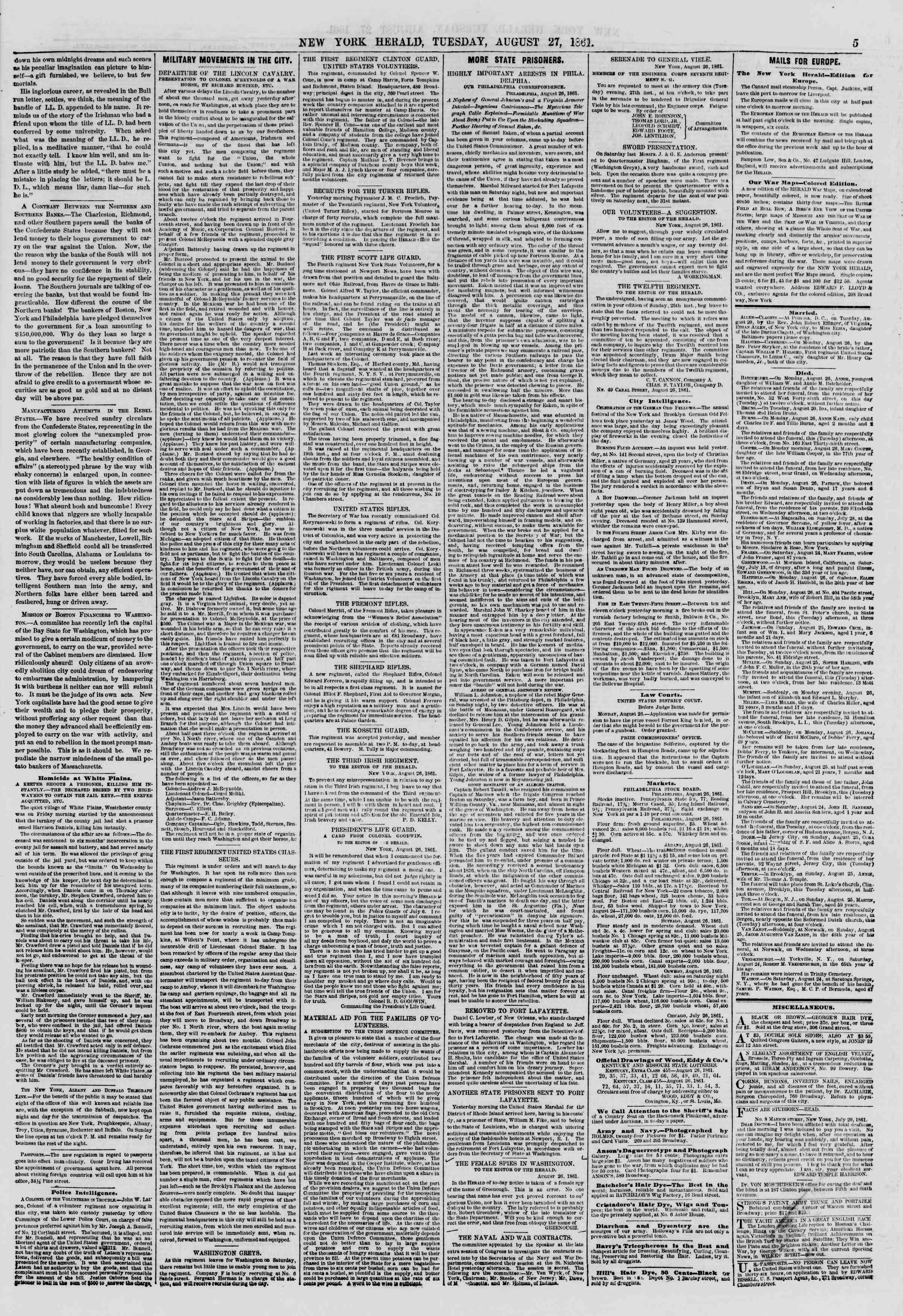 Newspaper of The New York Herald dated August 27, 1861 Page 5