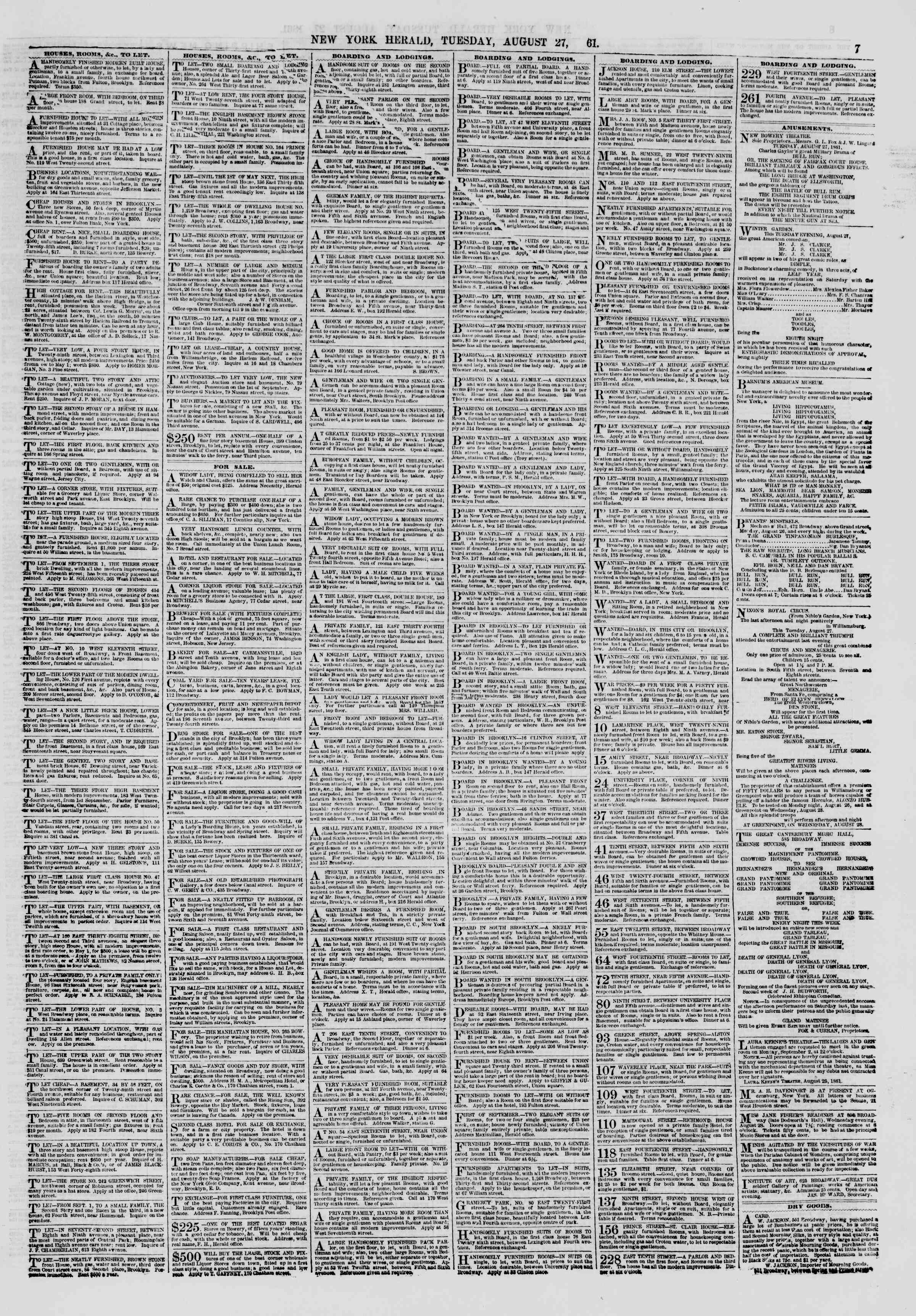 Newspaper of The New York Herald dated August 27, 1861 Page 7