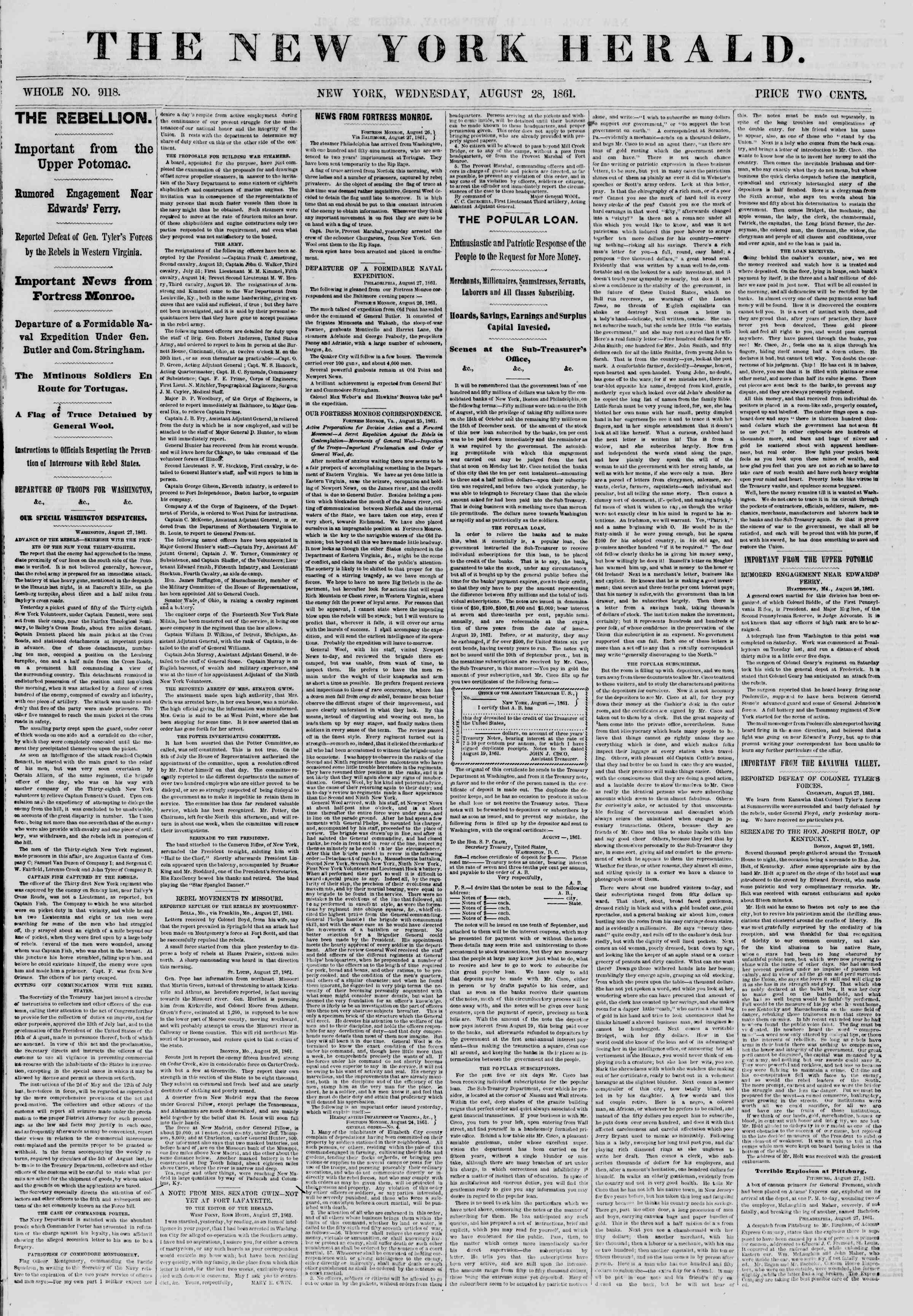 Newspaper of The New York Herald dated August 28, 1861 Page 1