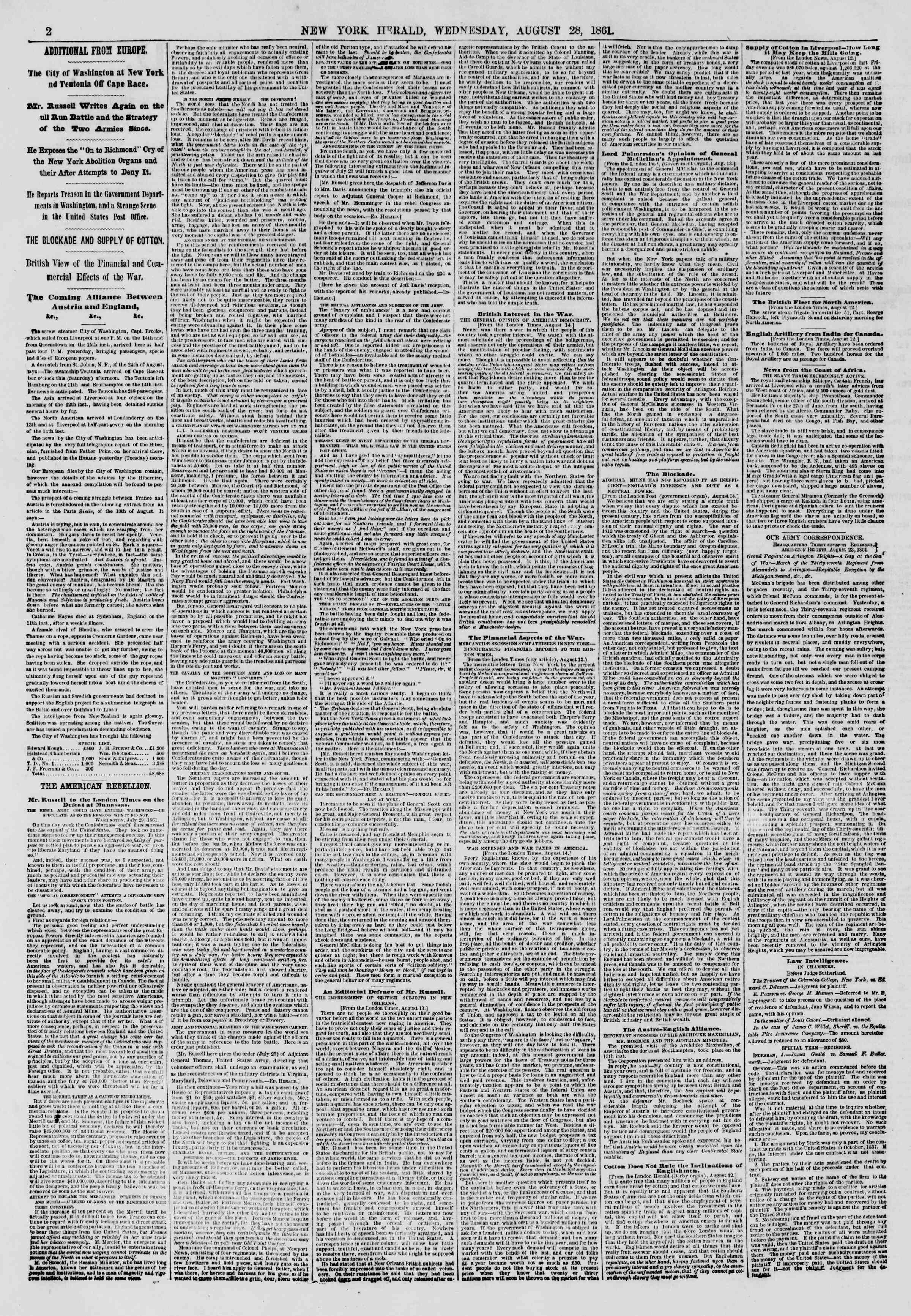 Newspaper of The New York Herald dated August 28, 1861 Page 2
