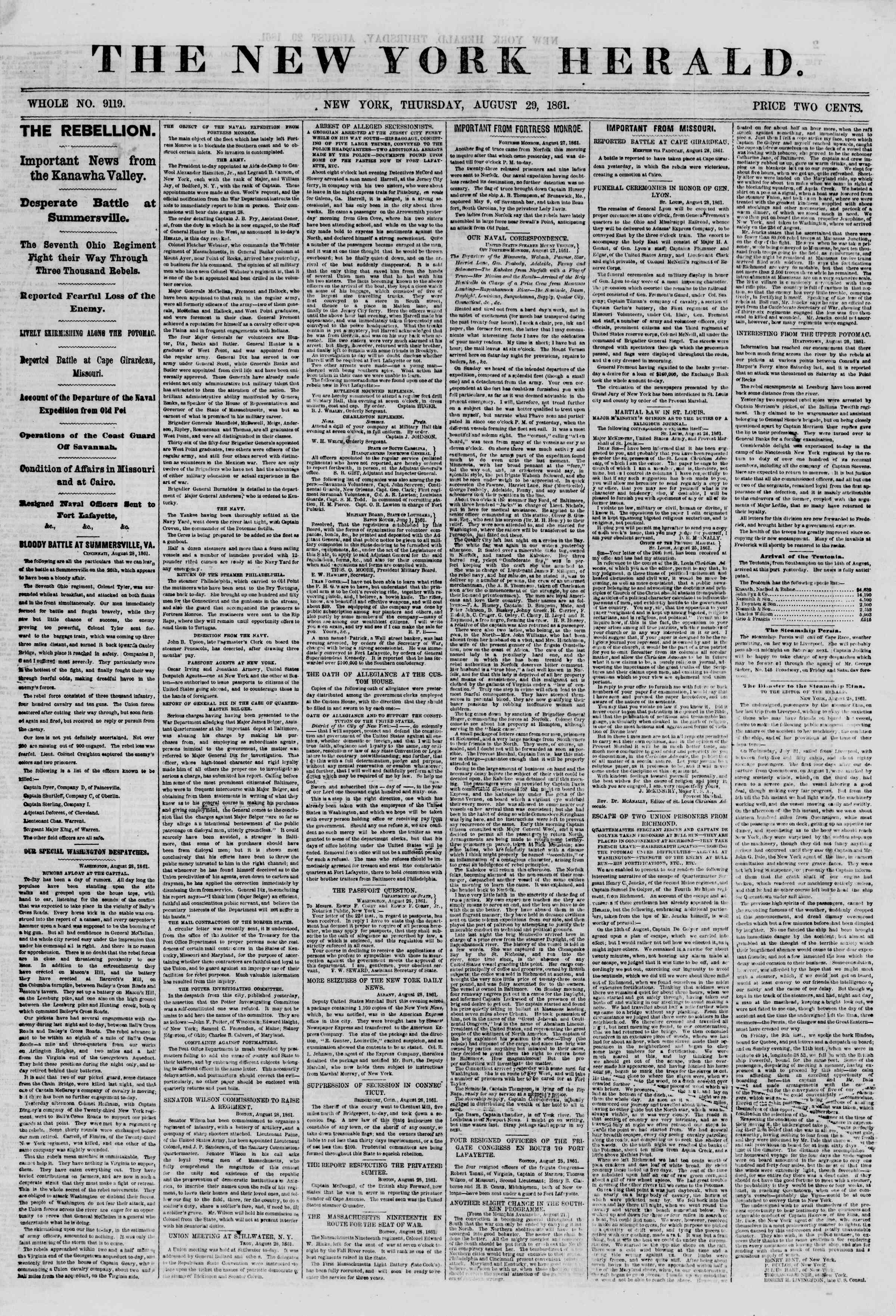 Newspaper of The New York Herald dated August 29, 1861 Page 1