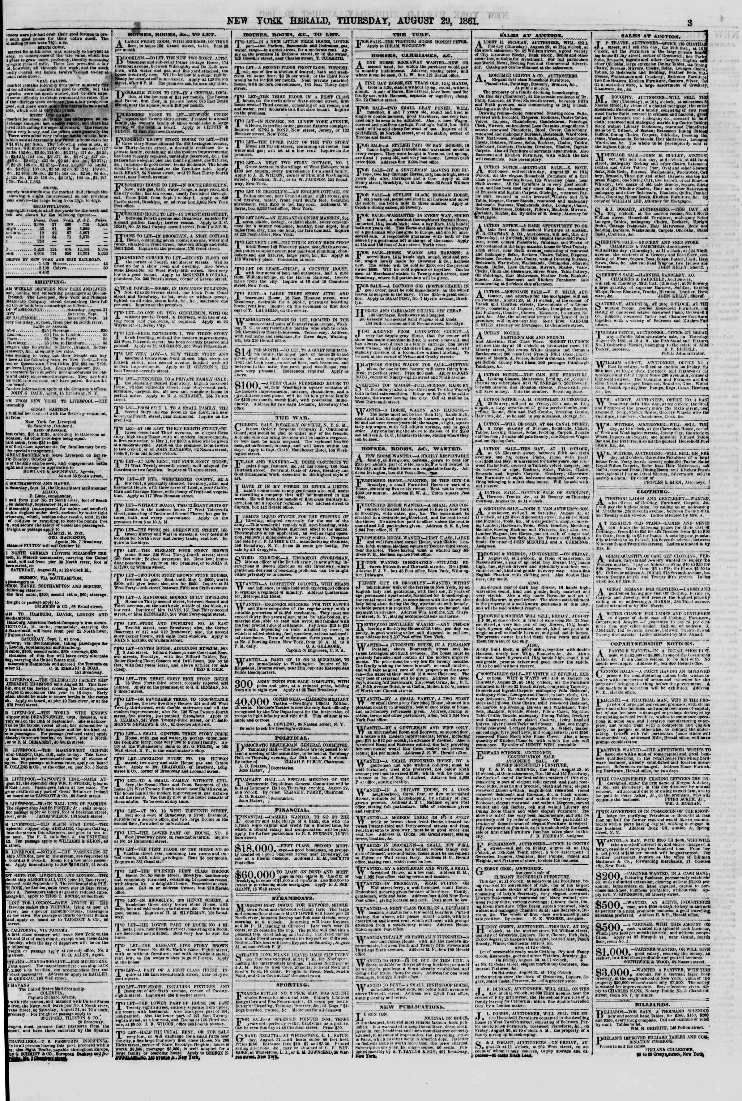Newspaper of The New York Herald dated August 29, 1861 Page 3