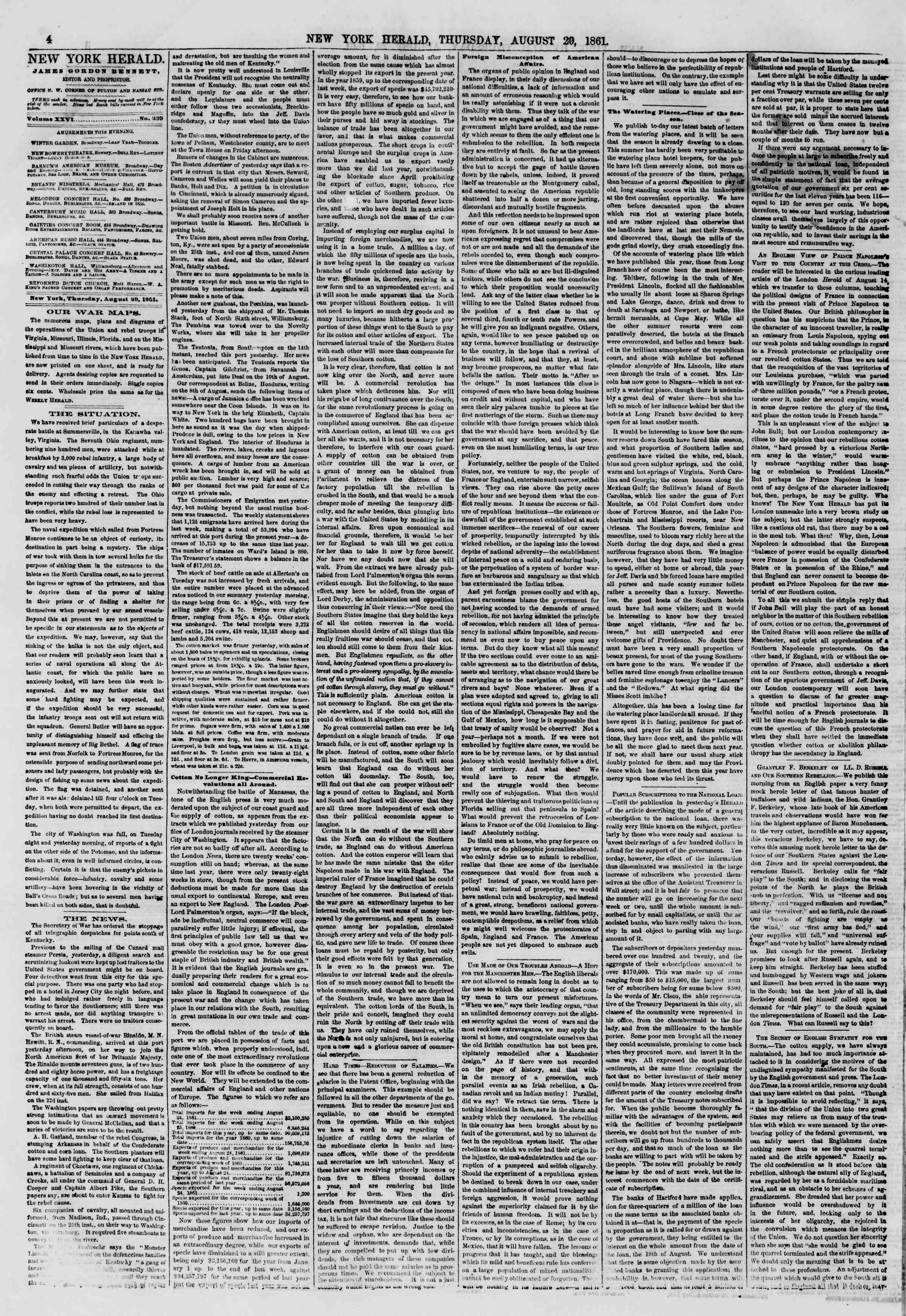 Newspaper of The New York Herald dated August 29, 1861 Page 4