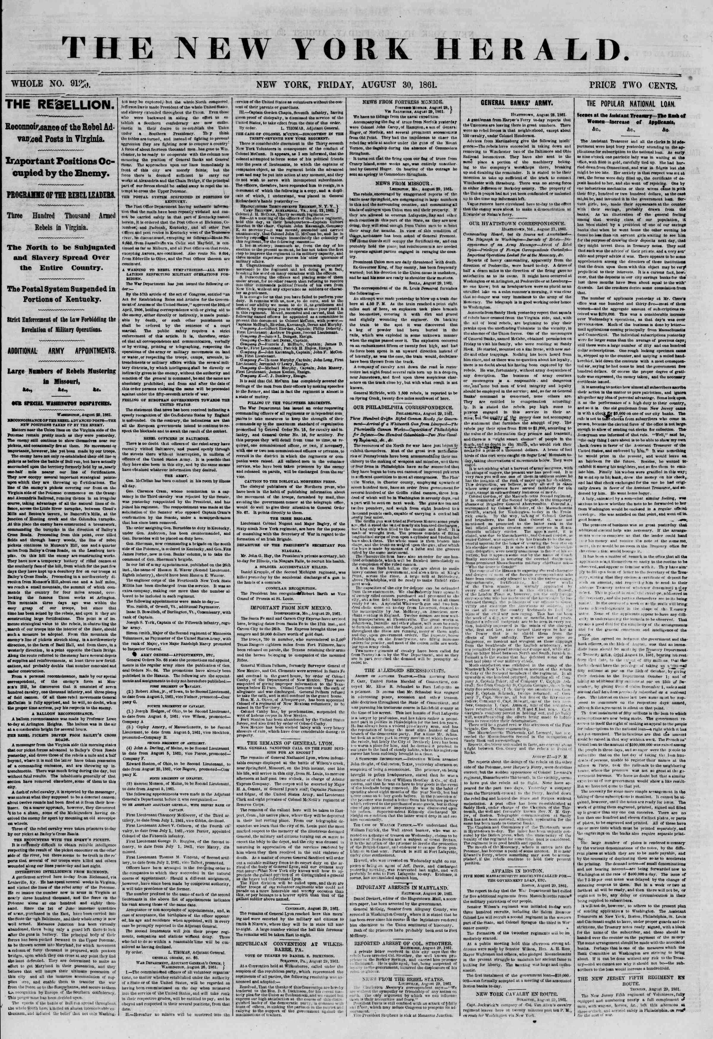 Newspaper of The New York Herald dated August 30, 1861 Page 1