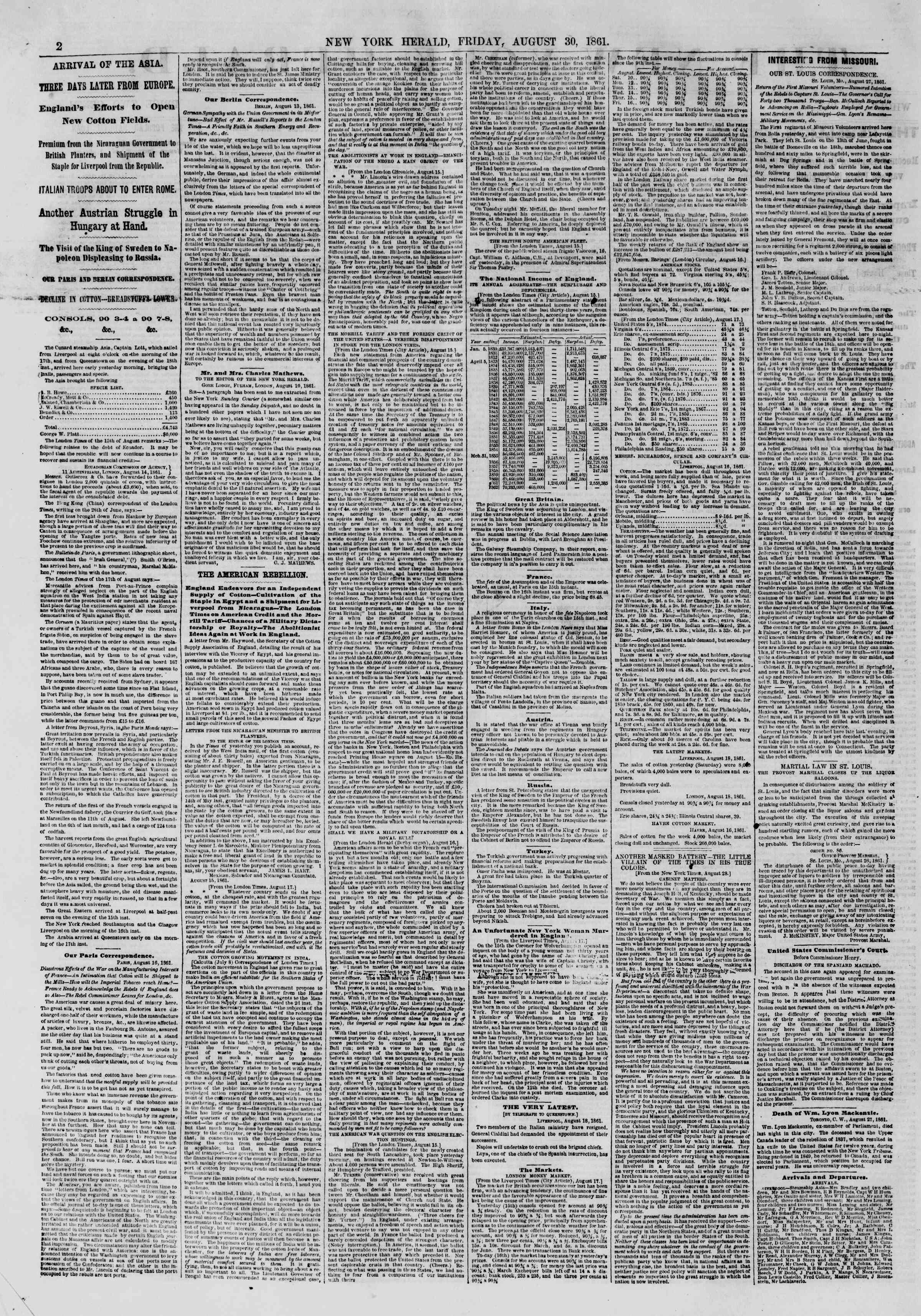 Newspaper of The New York Herald dated August 30, 1861 Page 2