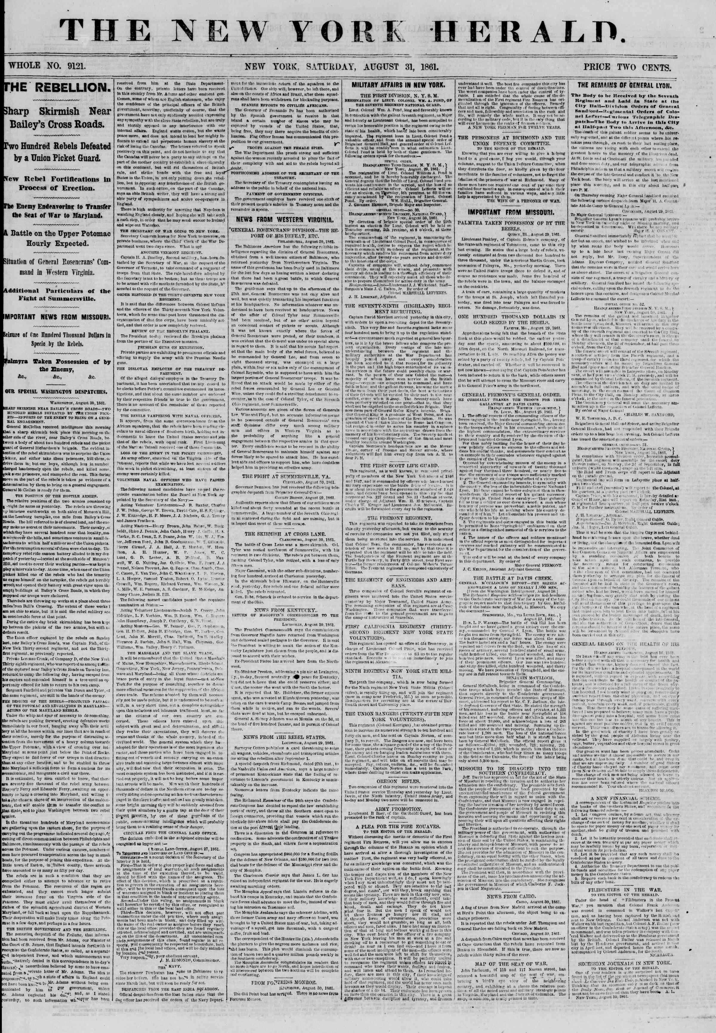 Newspaper of The New York Herald dated August 31, 1861 Page 1