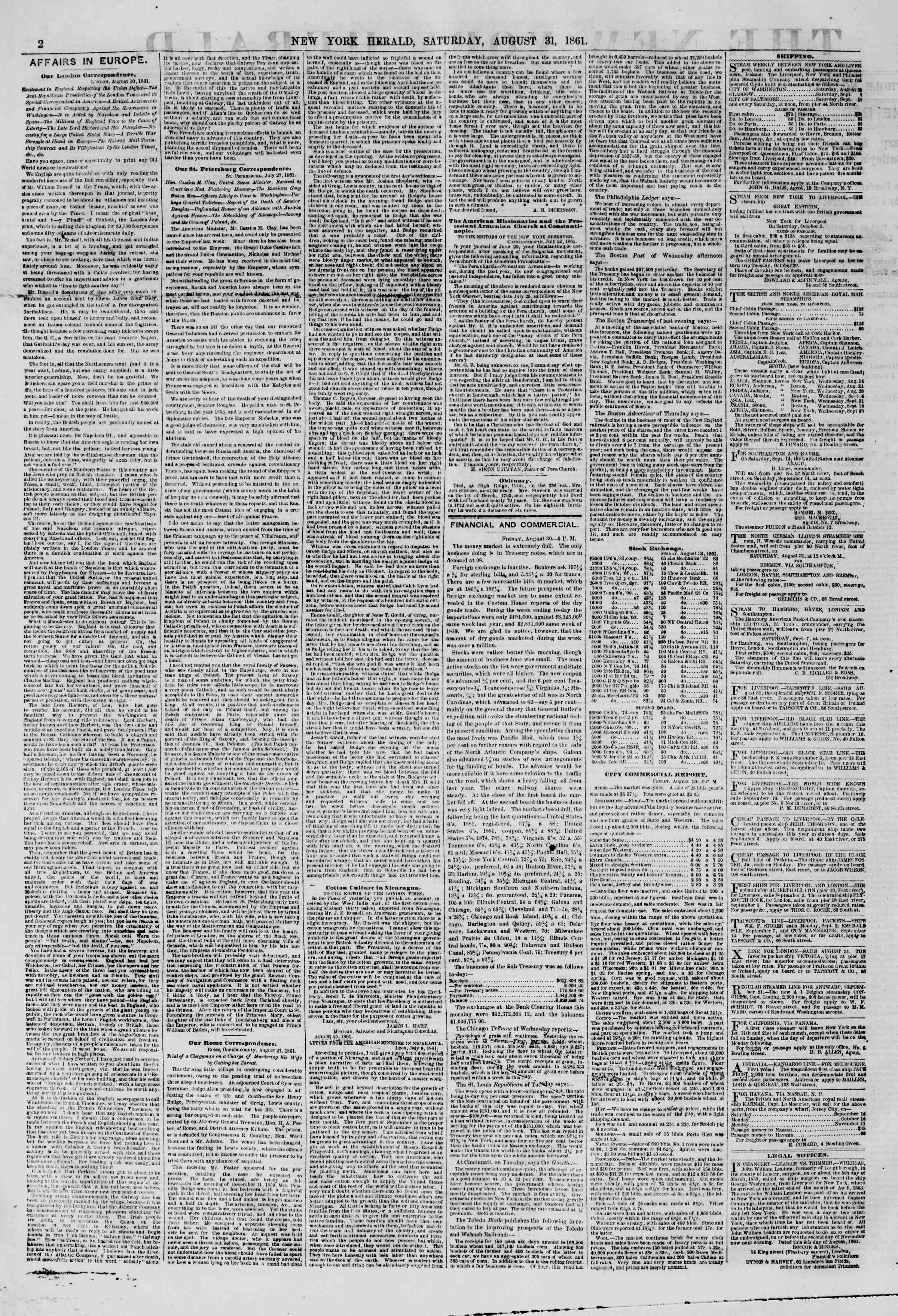Newspaper of The New York Herald dated August 31, 1861 Page 2
