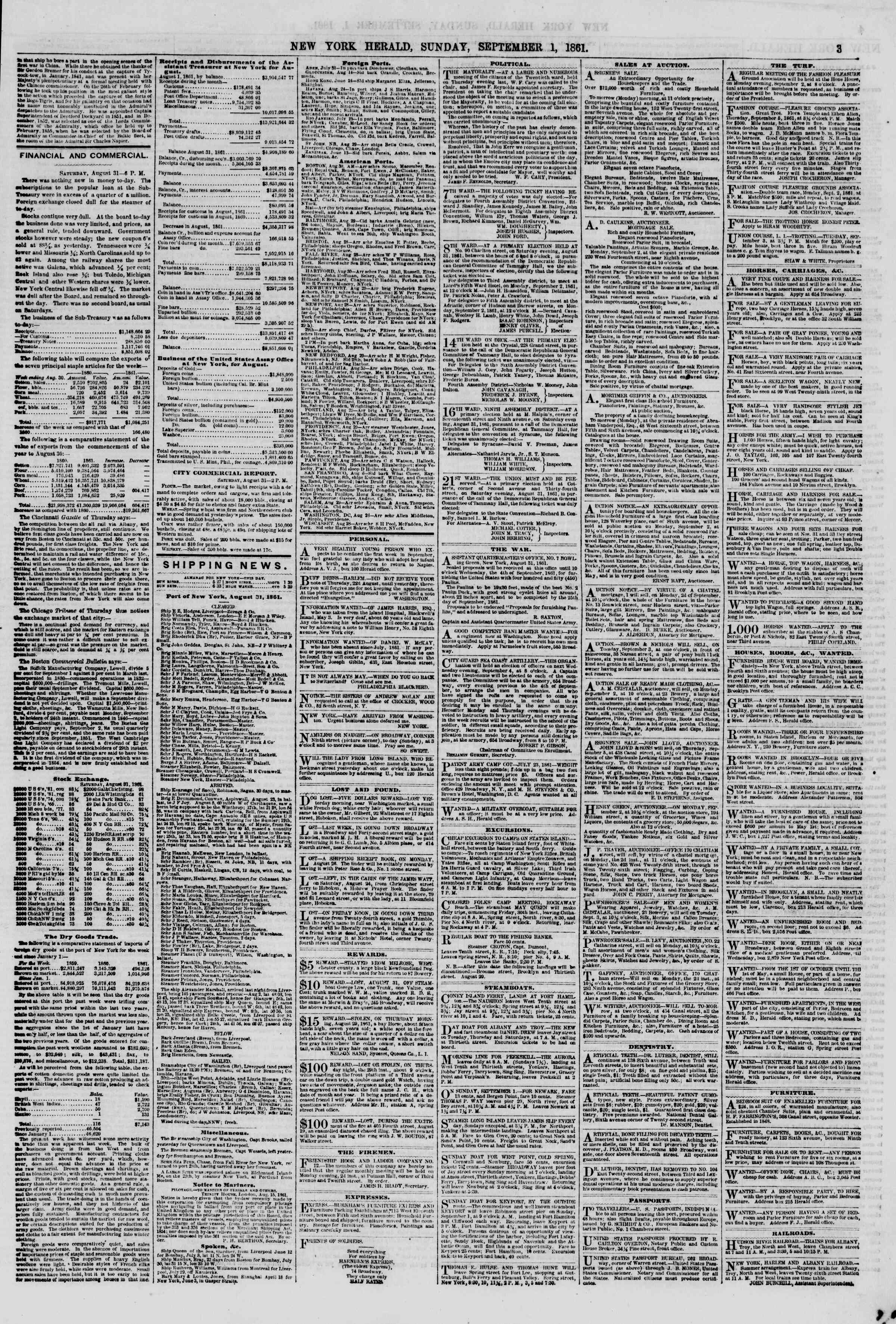 Newspaper of The New York Herald dated September 1, 1861 Page 3